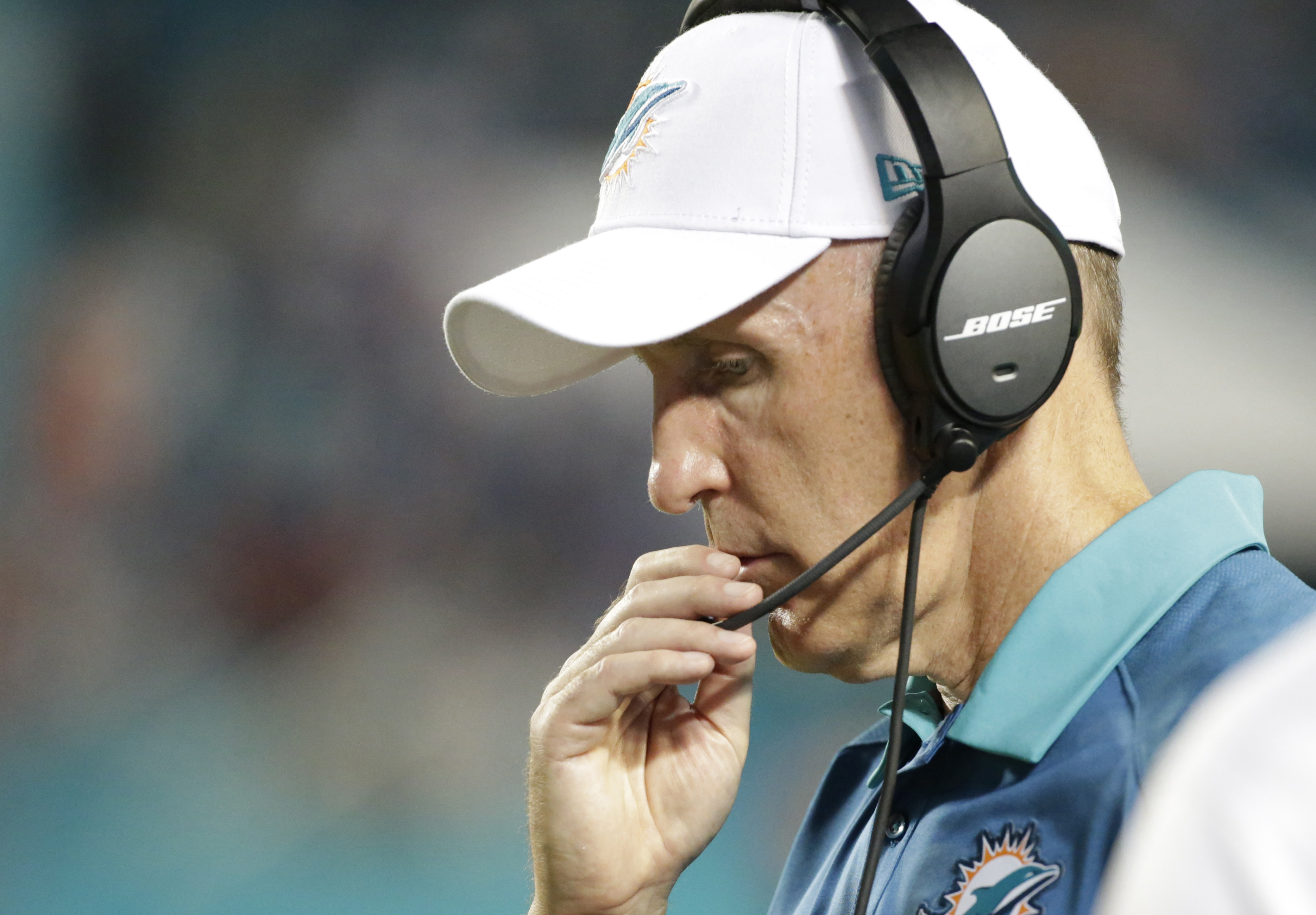Miami Dolphins head coach Joe Philbin looks down during the second half of an NFL football game against the Buffalo Bills, Sunday, Sept. 27, 2015 in Miami Gardens, Fla. The Bills defeated the Dolphins 41-14. (AP Photo/Wilfredo Lee)