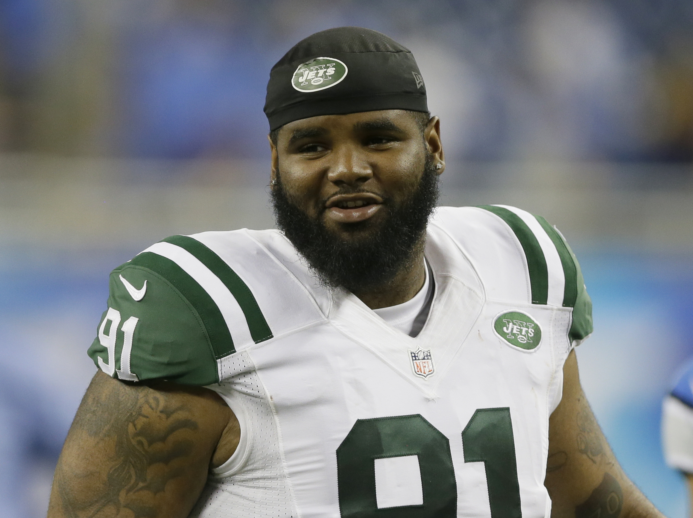 FILE - In this Aug. 13, 2015, file photo, New York Jets defensive end Sheldon Richardson (91) walks off the field following an NFL preseason football game against the Detroit Lions in Detroit. A Missouri judge has continued until next month the criminal c