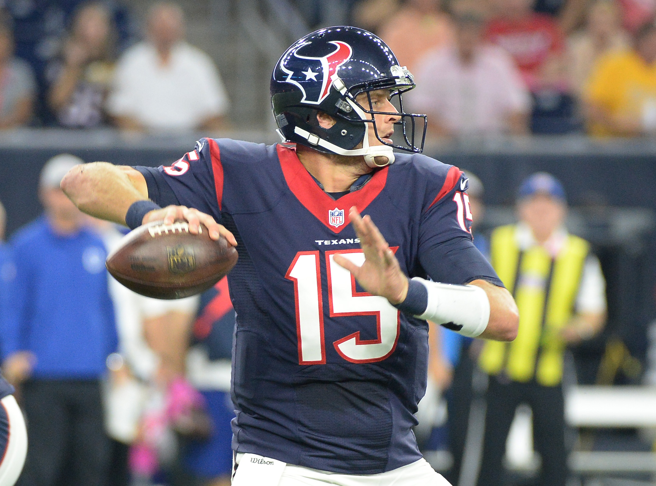 Houston Texans' Ryan Mallett (15) throws against the Indianapolis Colts during the first half of an NFL football game Thursday, Oct. 8, 2015, in Houston. (AP Photo/George Bridges)