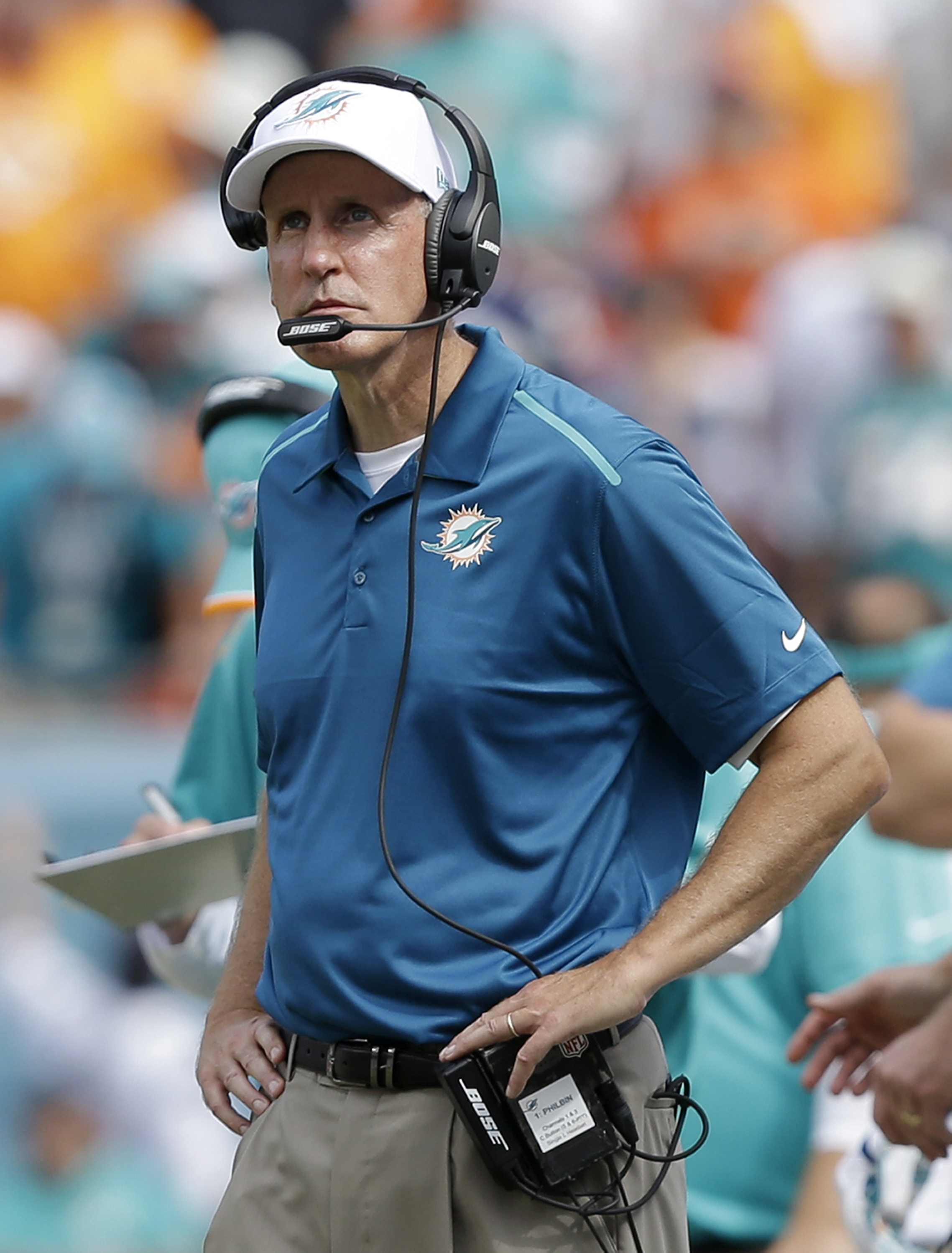 FILE - In this Sept. 7, 2014, file photo, Miami Dolphins head coach Joe Philbin looks up from the sideline during the second half of an NFL football game against the New England Patriots in Miami Gardens, Fla. The NFL's coaching hot seat already has burne