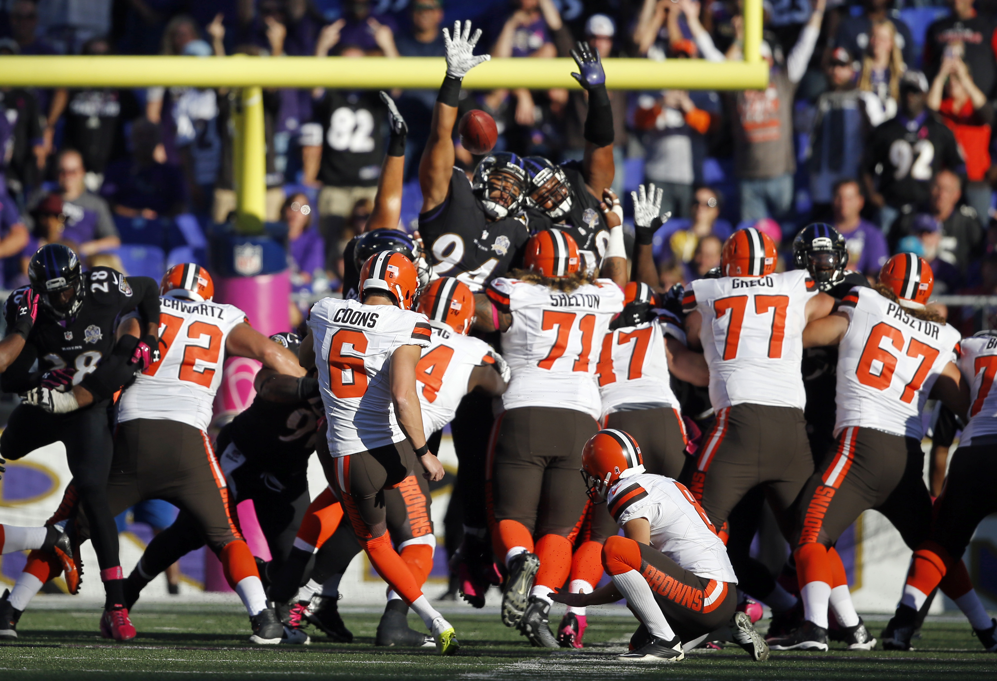 Cleveland Browns kicker Travis Coons (6) kicks a game-winning field goal in overtime of an NFL football game against the Baltimore Ravens, Sunday, Oct. 11, 2015, in Baltimore. Cleveland won 33-30. (AP Photo/Patrick Semansky)
