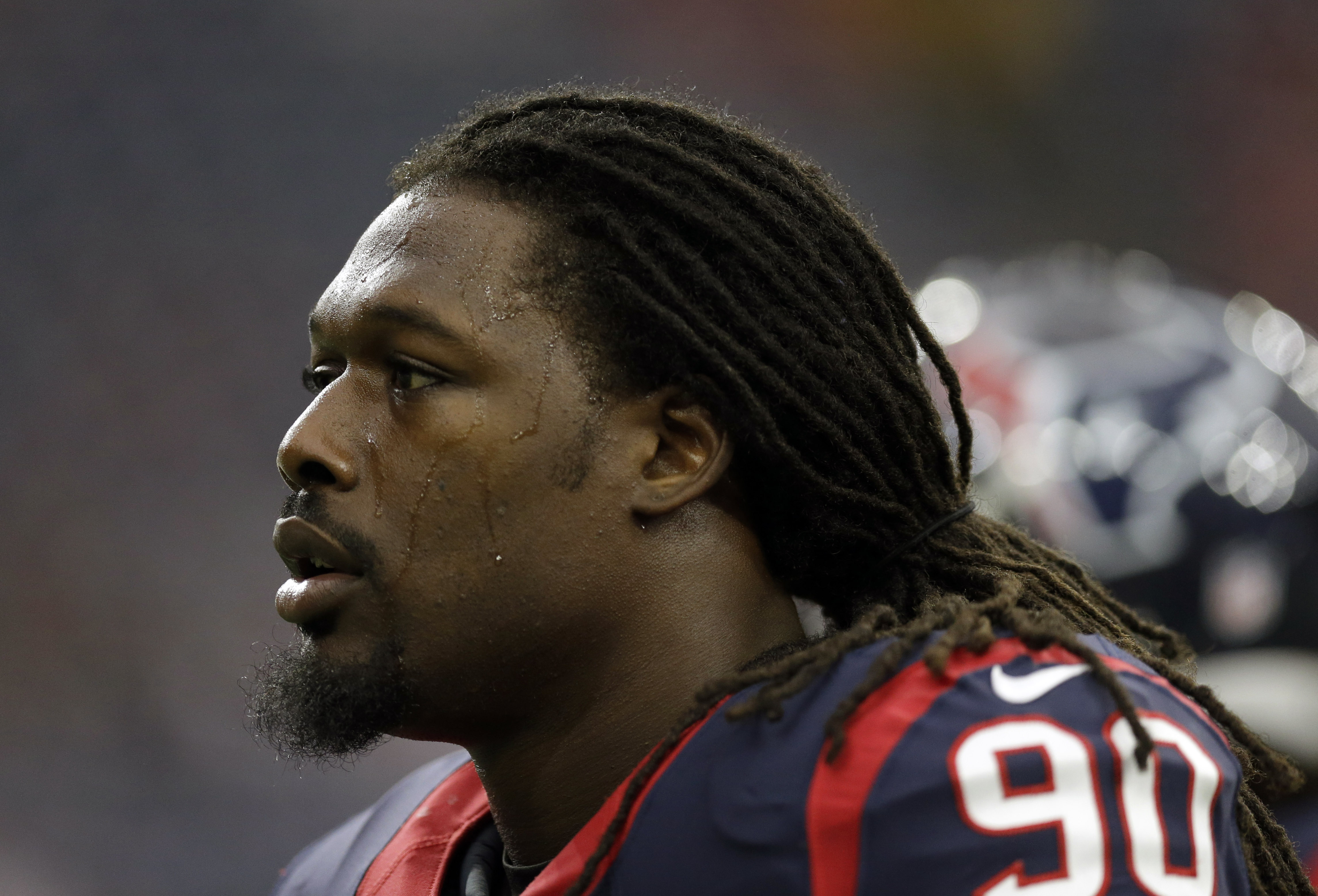 FILE - In this Sept. 27, 2015, file photo, Houston Texans outside linebacker Jadeveon Clowney (90) is shown before an NFL football game against Tampa in Houston. Clowney is finally healthy and playing well for the Texans. But there's something missing for