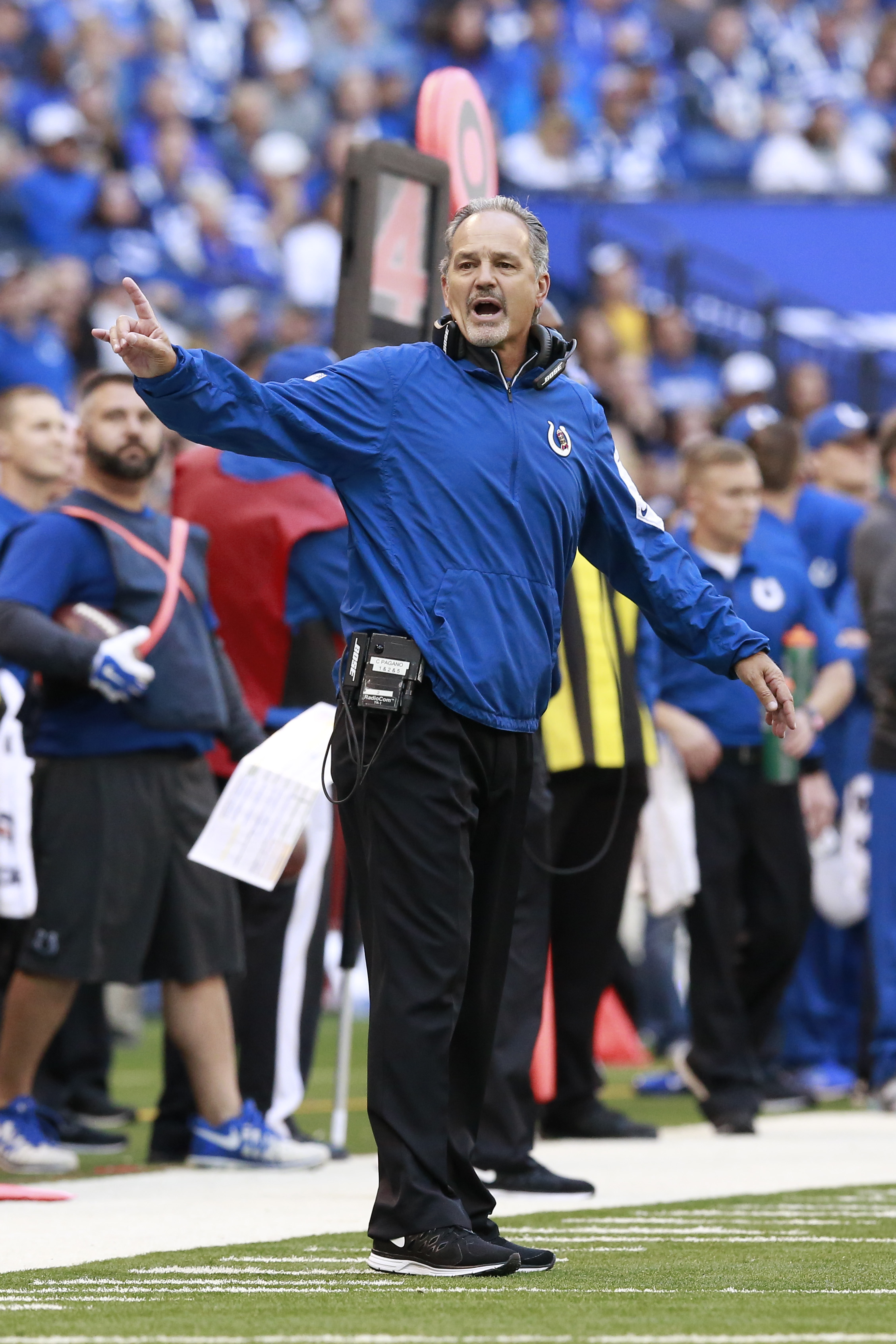 Indianapolis Colts head coach Chuck Pagano yells from the sideline in the second half of an NFL football game against the New Orleans Saints in Indianapolis, Sunday, Oct. 25, 2015. (AP Photo/R Brent Smith)