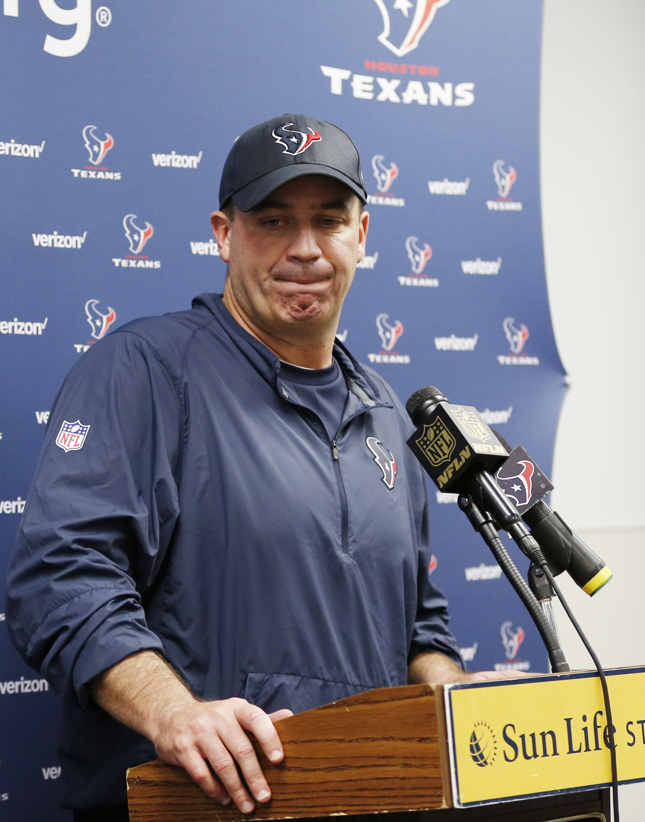 Houston Texans head coach Bill O'Brien reacts during the post-game news conference of an NFL football game against the Miami Dolphins, Sunday, Oct. 25, 2015 in Miami Gardens, Fla. The Dolphins defeated the Texans 44-26. (AP Photo/Joel Auerbach)