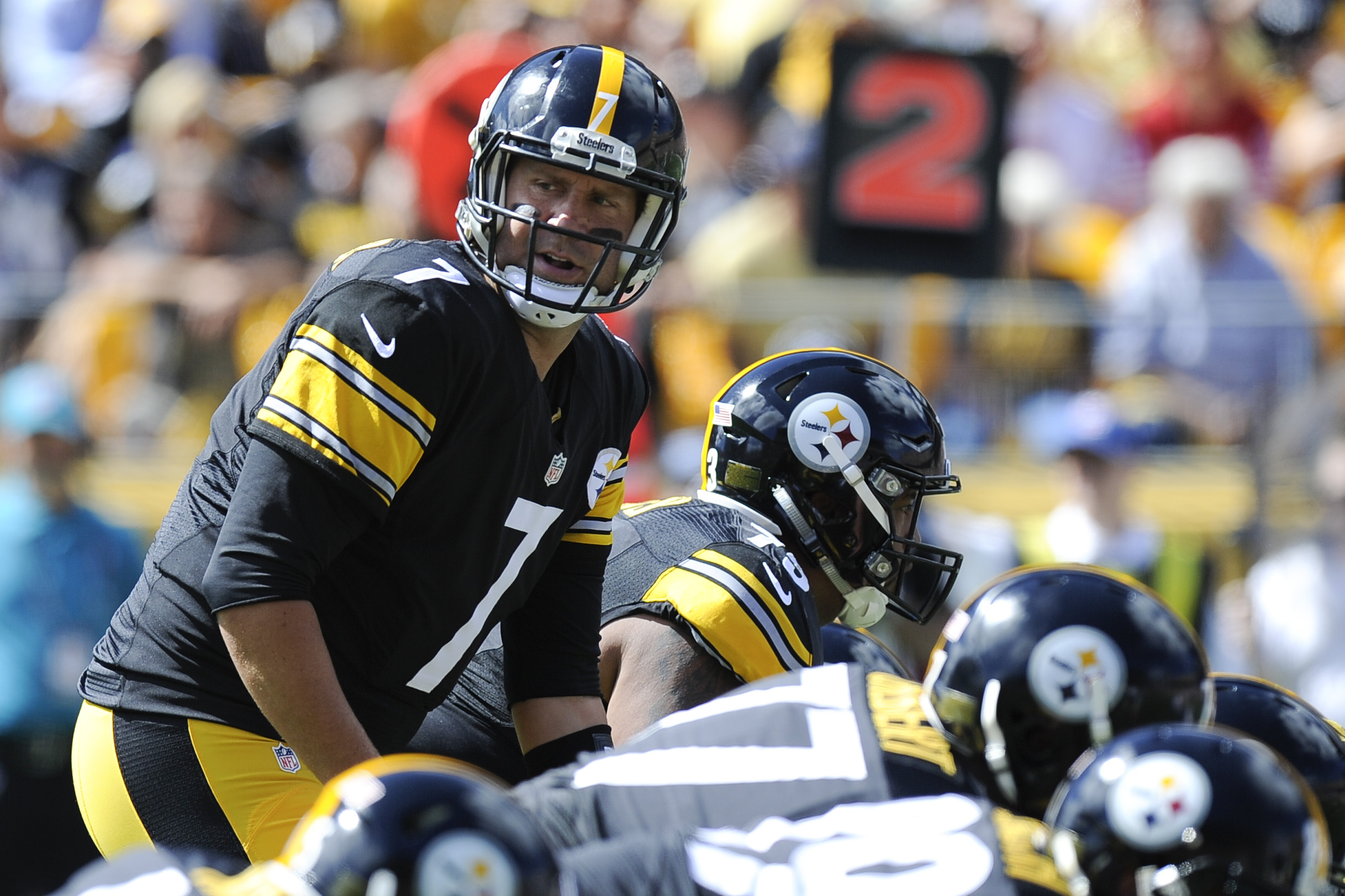 FILE - In this Sept. 20, 2015, file photo, Pittsburgh Steelers quarterback Ben Roethlisberger (7) prepares to take the snap in the first quarter of an NFL football game against the San Francisco 49ers in Pittsburgh. Roethlisberger is back. The Steelers ho