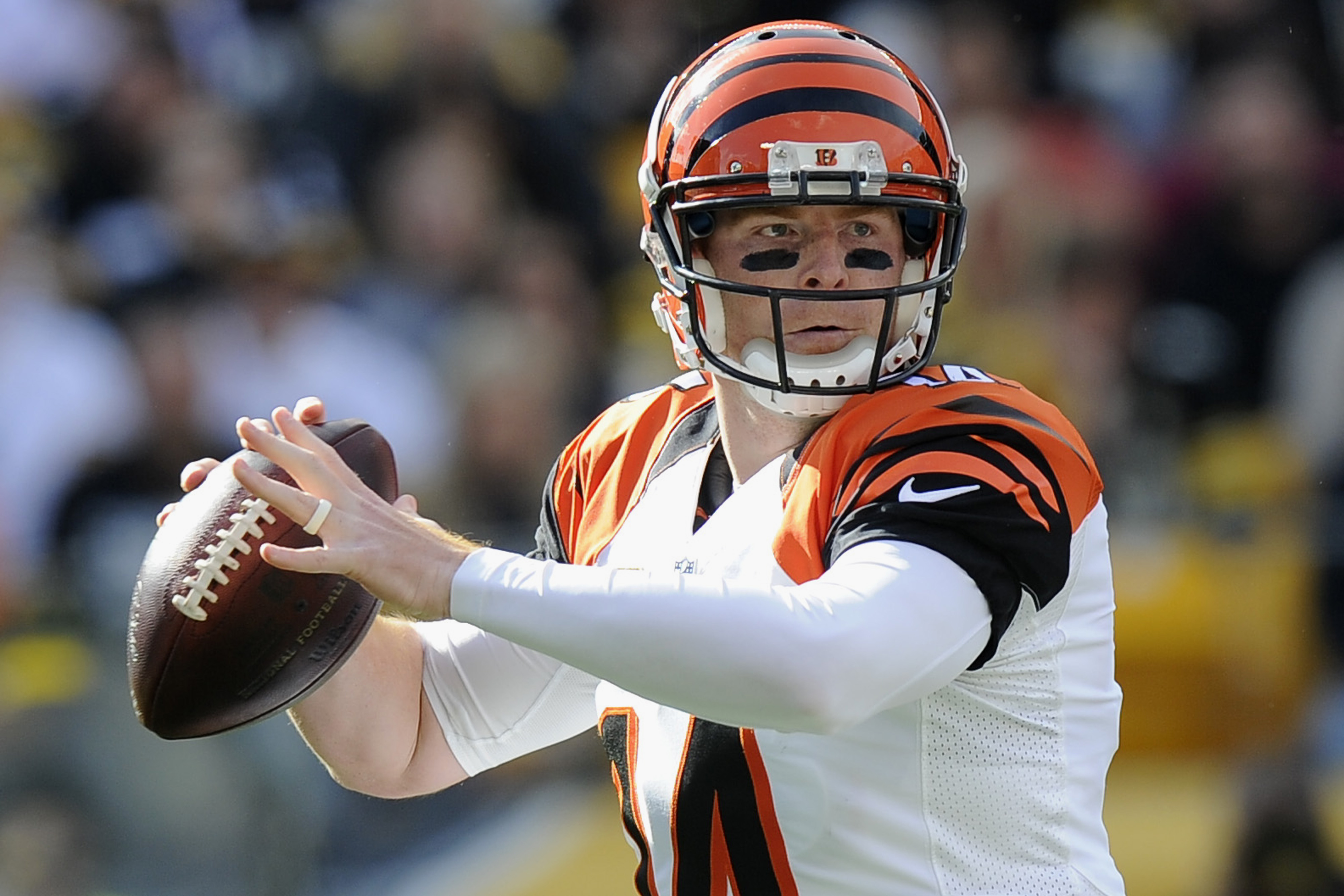 Cincinnati Bengals quarterback Andy Dalton prepares to pass in the first quarter of an NFL football game against the Pittsburgh Steelers, Sunday, Nov. 1, 2015, in Pittsburgh. (AP Photo/Don Wright)