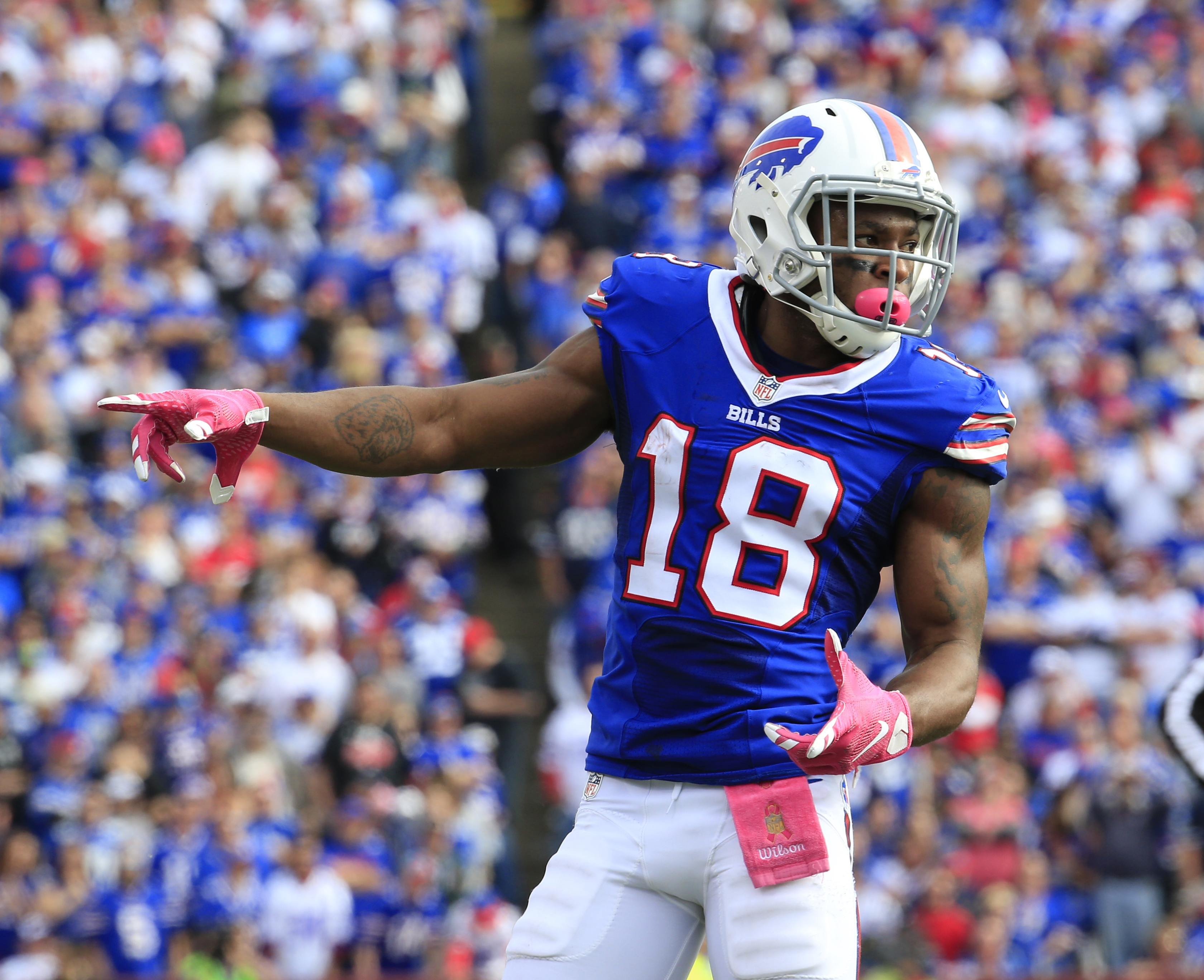 Buffalo Bills wide receiver Percy Harvin runs into position against the New York Giants during the second half of an NFL football game, Sunday, Oct. 4, 2015, in Orchard Park, N.Y. (AP Photo/Bill Wippert)