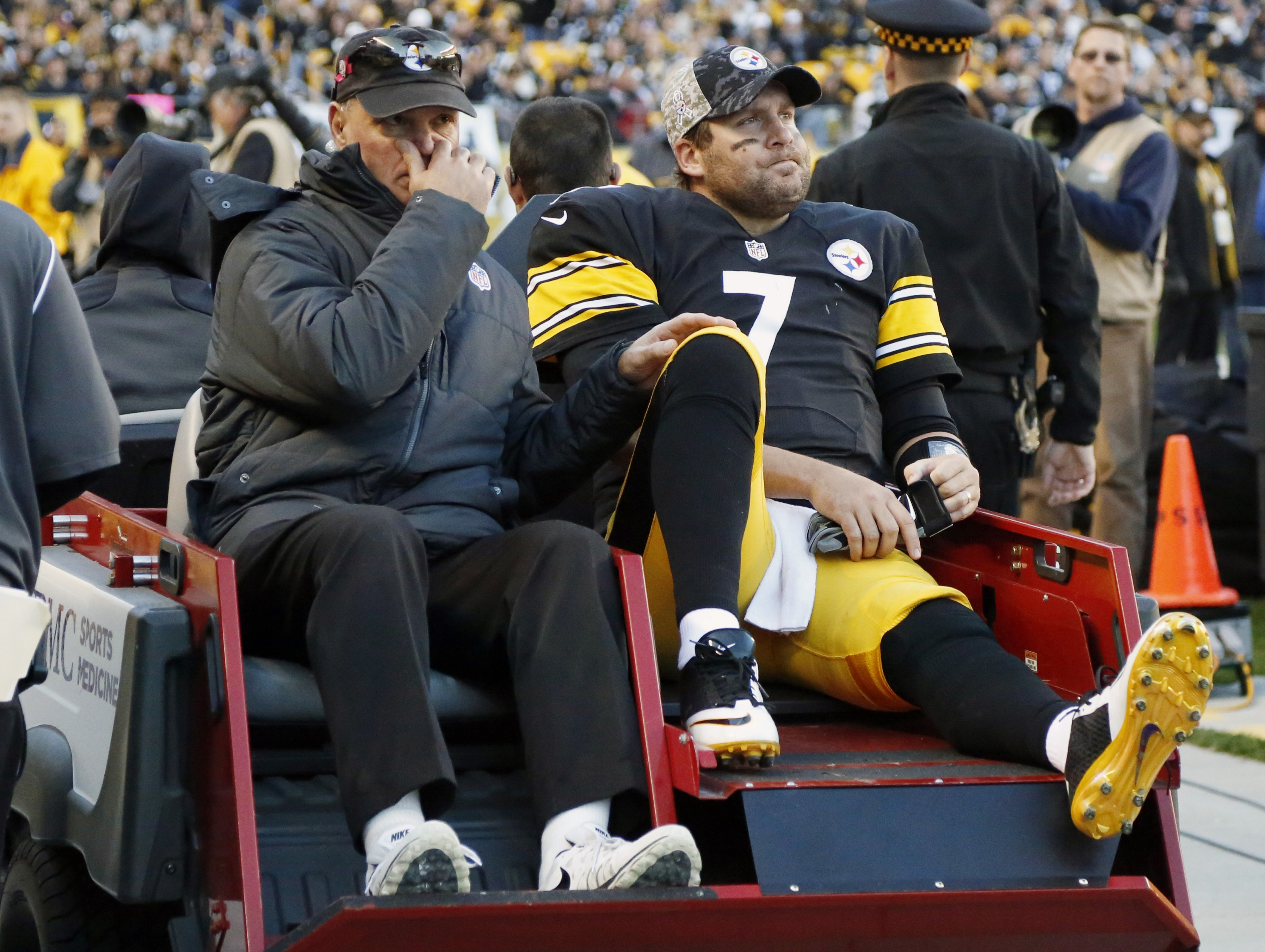 Pittsburgh Steelers quarterback Ben Roethlisberger (7) is taken a way in a cart after he was injured in the fourth quarter of an NFL football game against the Oakland Raiders, Sunday, Nov. 8, 2015, in Pittsburgh. The Steelers won 38-35. (AP Photo/Gene Pus