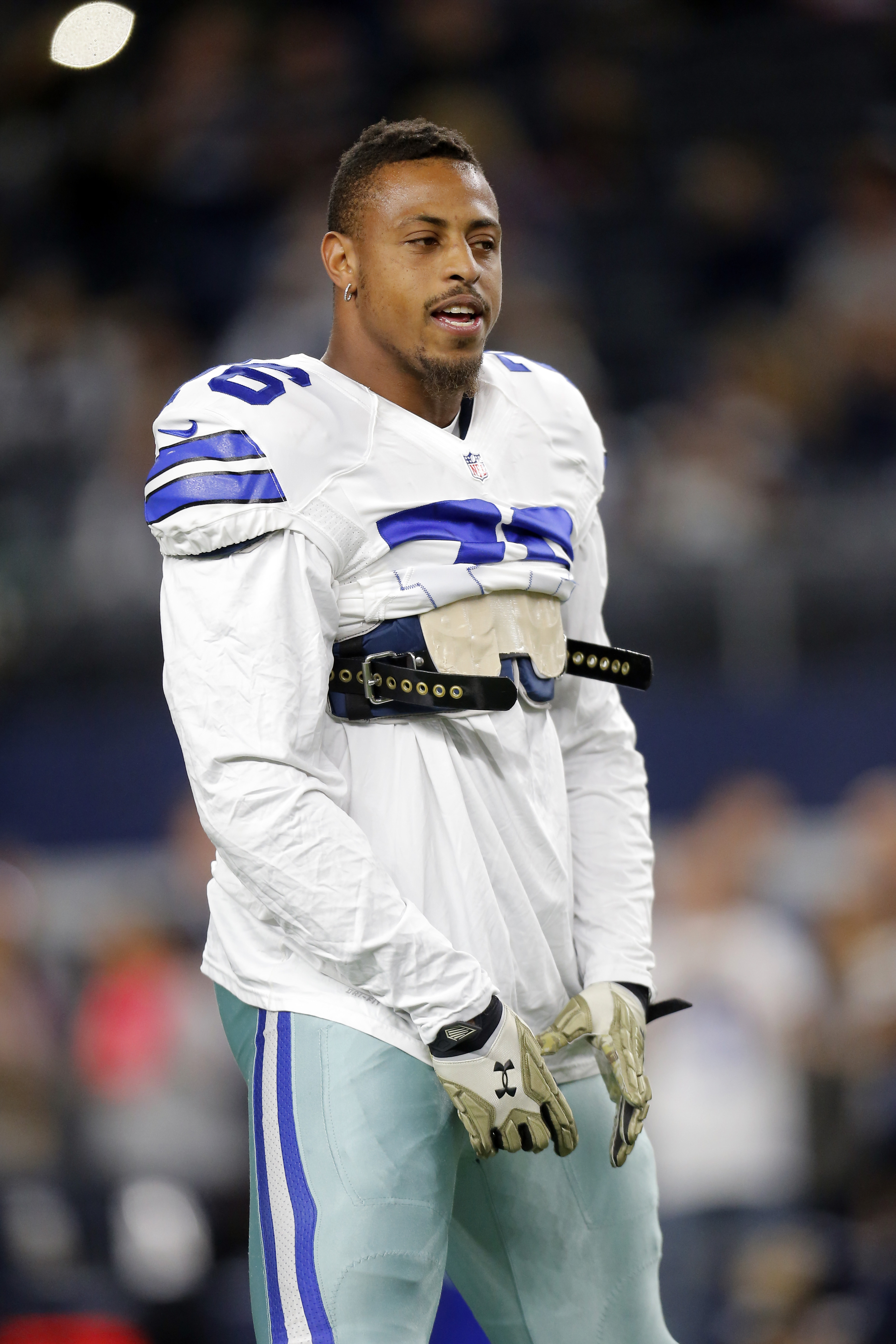 Dallas Cowboys' Greg Hardy (76) stands not he field as he warms up before an NFL football game agaisnt the Philadelphia Eagles on Sunday, Nov. 8, 2015, in Arlington, Texas. (AP Photo/Brandon Wade)