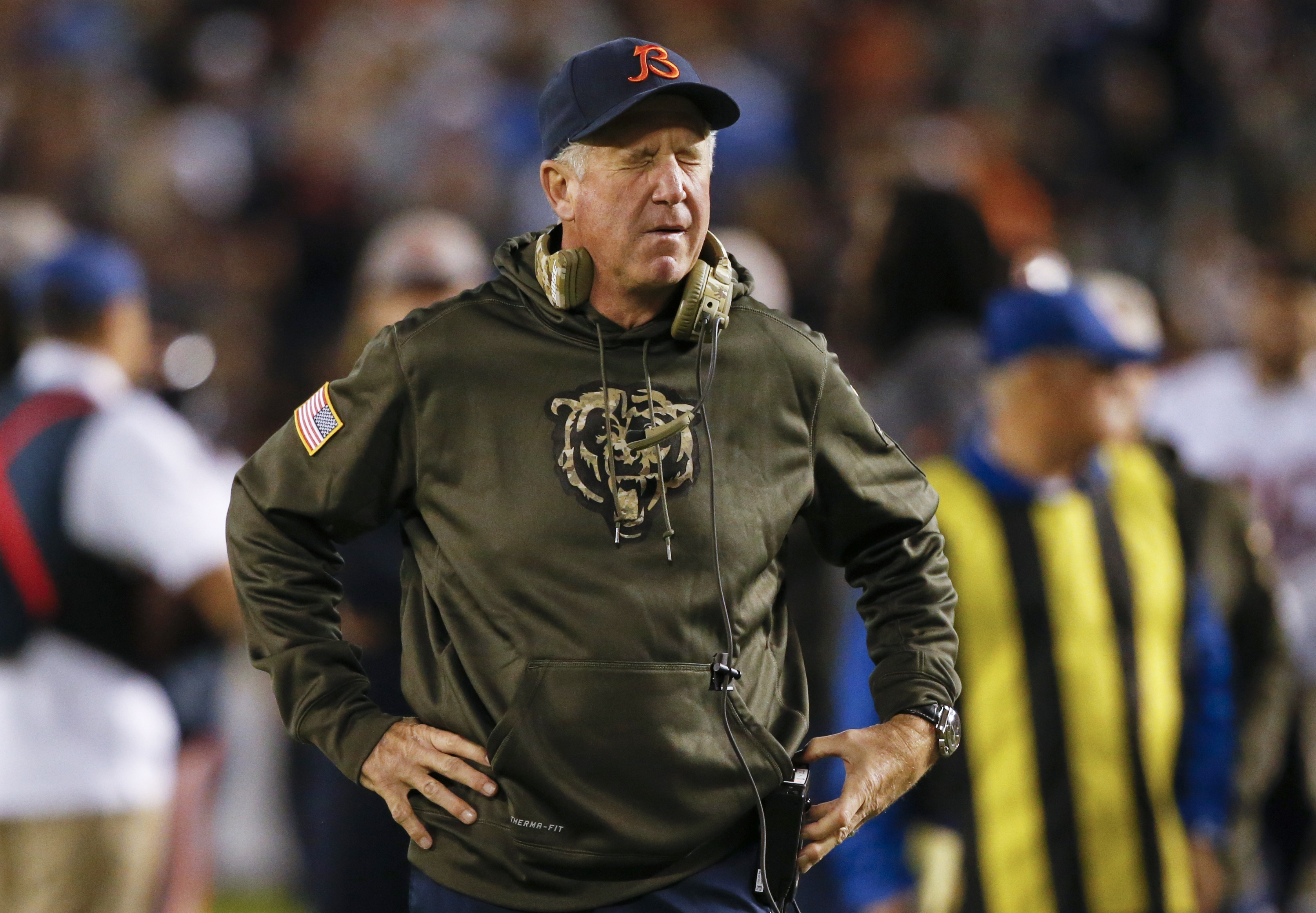 Chicago Bears head coach John Fox reacts during the first half of an NFL football game against the San Diego Chargers, Monday, Nov. 9, 2015, in San Diego. (AP Photo/Lenny Ignelzi)