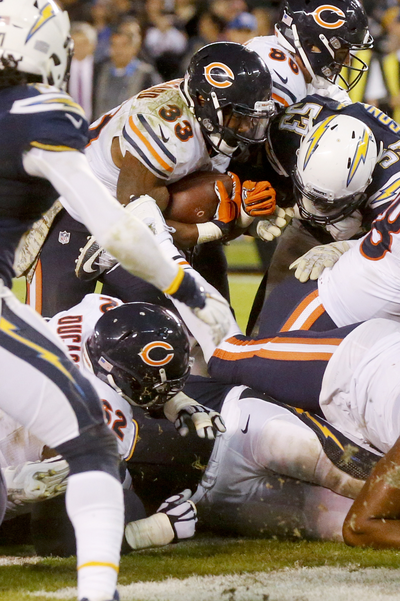 Chicago Bears running back Jeremy Langford, above, scores a touchdown during the second half of an NFL football game against the San Diego Chargers, Monday, Nov. 9, 2015, in San Diego. (AP Photo/Lenny Ignelzi)