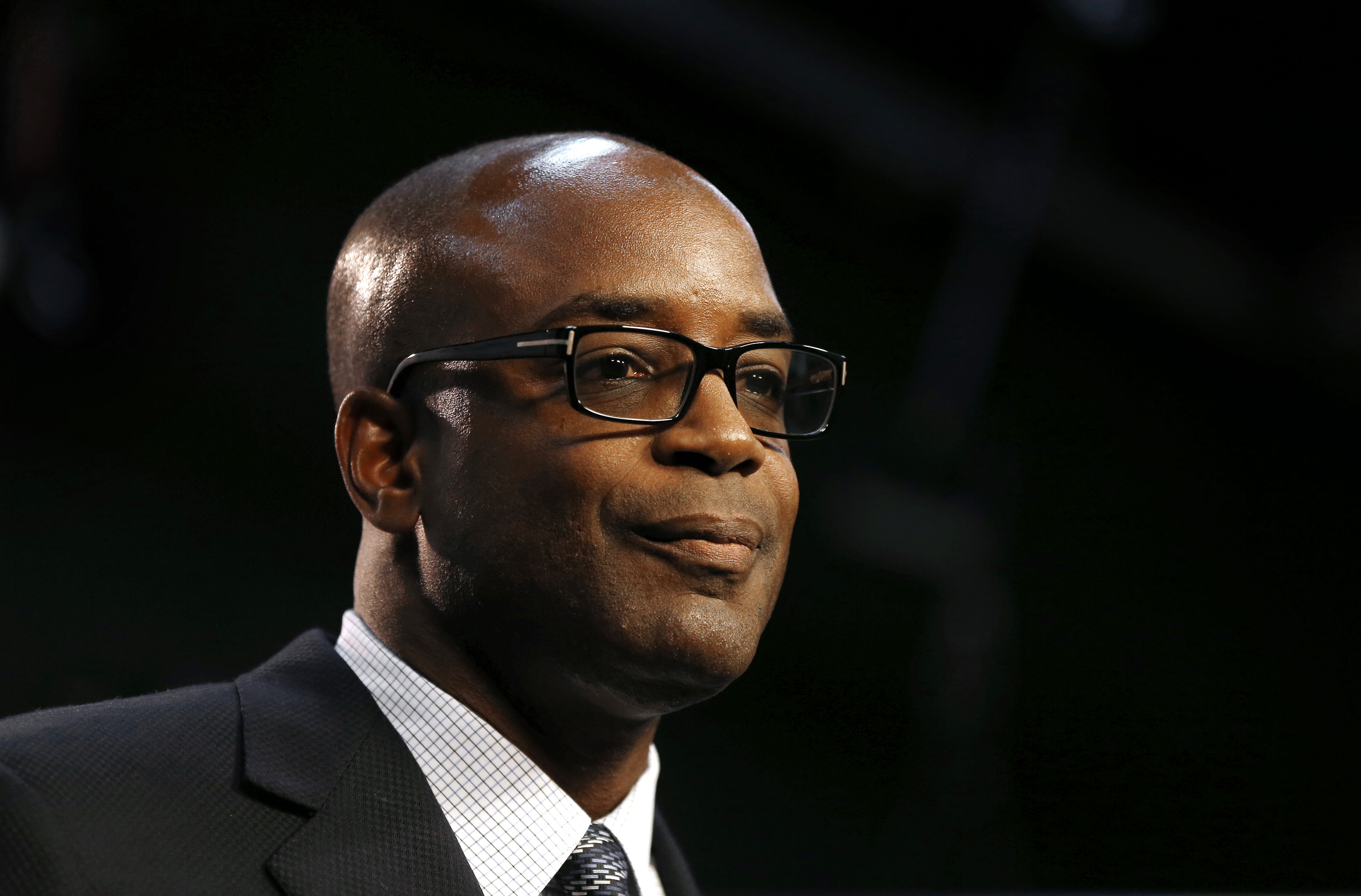 Detroit Lions interim general manager Sheldon White speaks during an NFL football news conference Thursday, Nov. 12, 2015, in Allen Park, Mich. White replaces Martin Mayhew who was fired along with team president Tom Lewand. (AP Photo/Paul Sancya)
