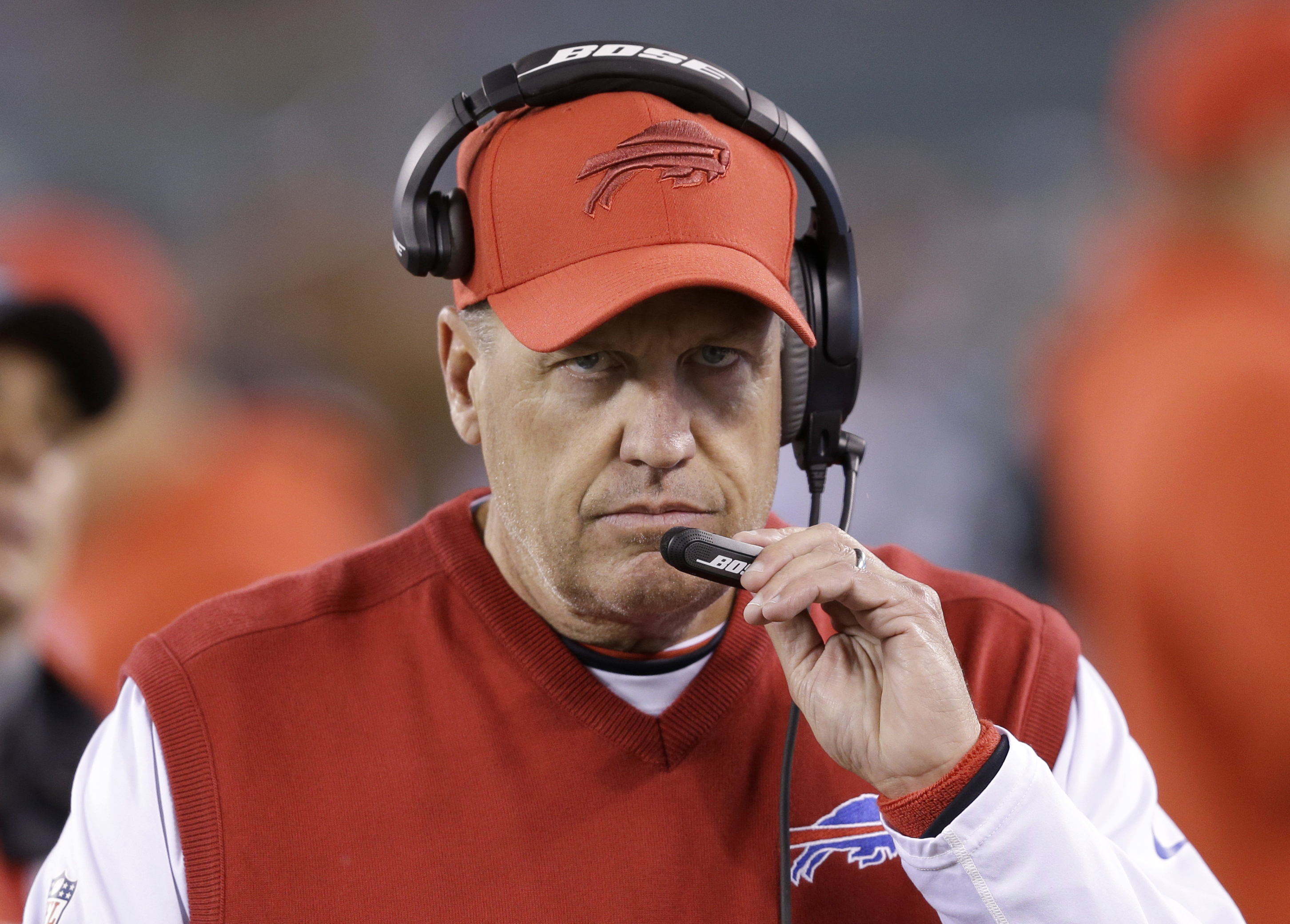 Buffalo Bills coach Rex Ryan waits for the start of his team's NFL football game against the New York Jets, Thursday, Nov. 12, 2015, in East Rutherford, N.J. (AP Photo/Seth Wenig)