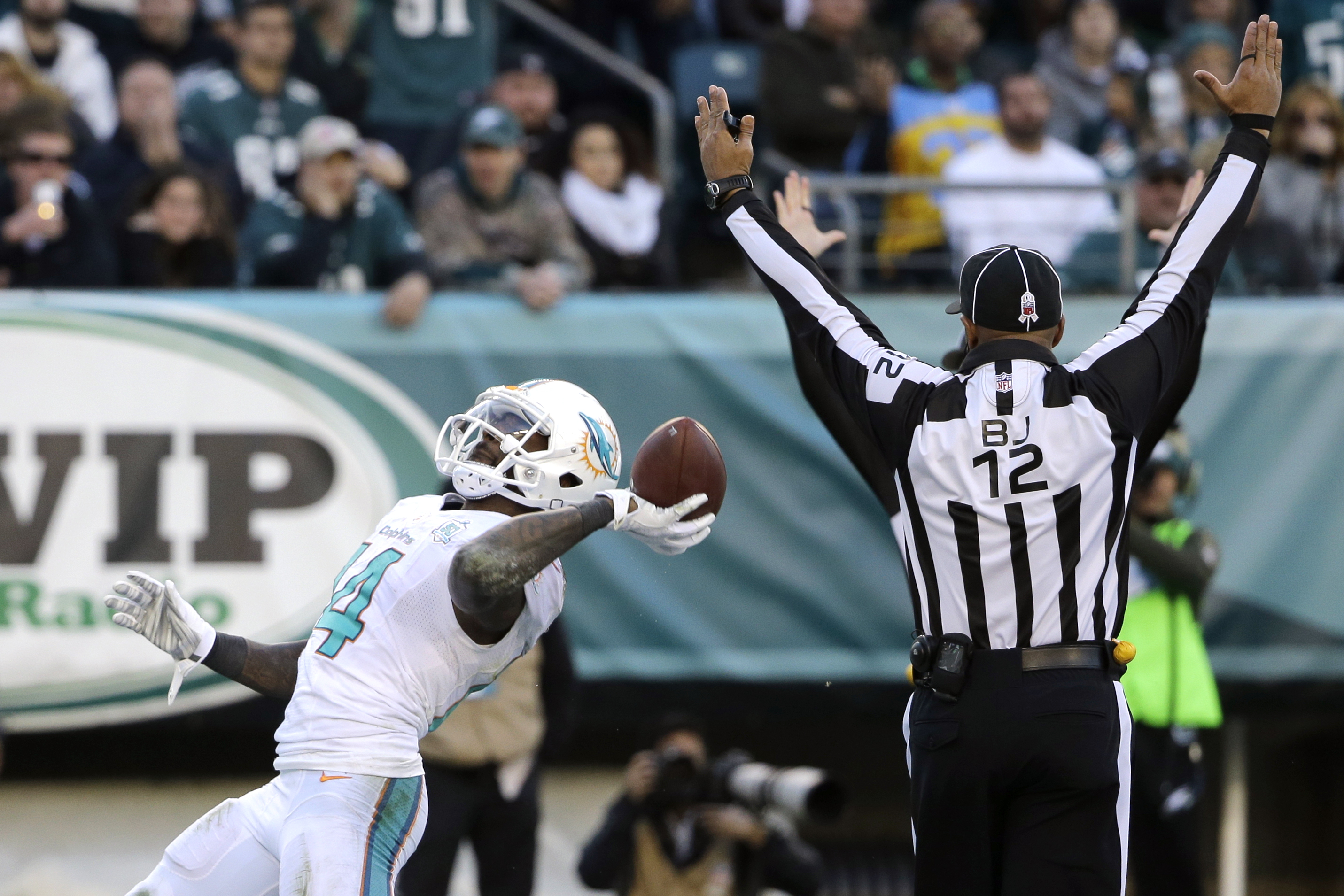Miami Dolphins' Jarvis Landry celebrates after scoring a touchdown during the second half of an NFL football game against the Philadelphia Eagles, Sunday, Nov. 15, 2015, in Philadelphia. (AP Photo/Matt Rourke)
