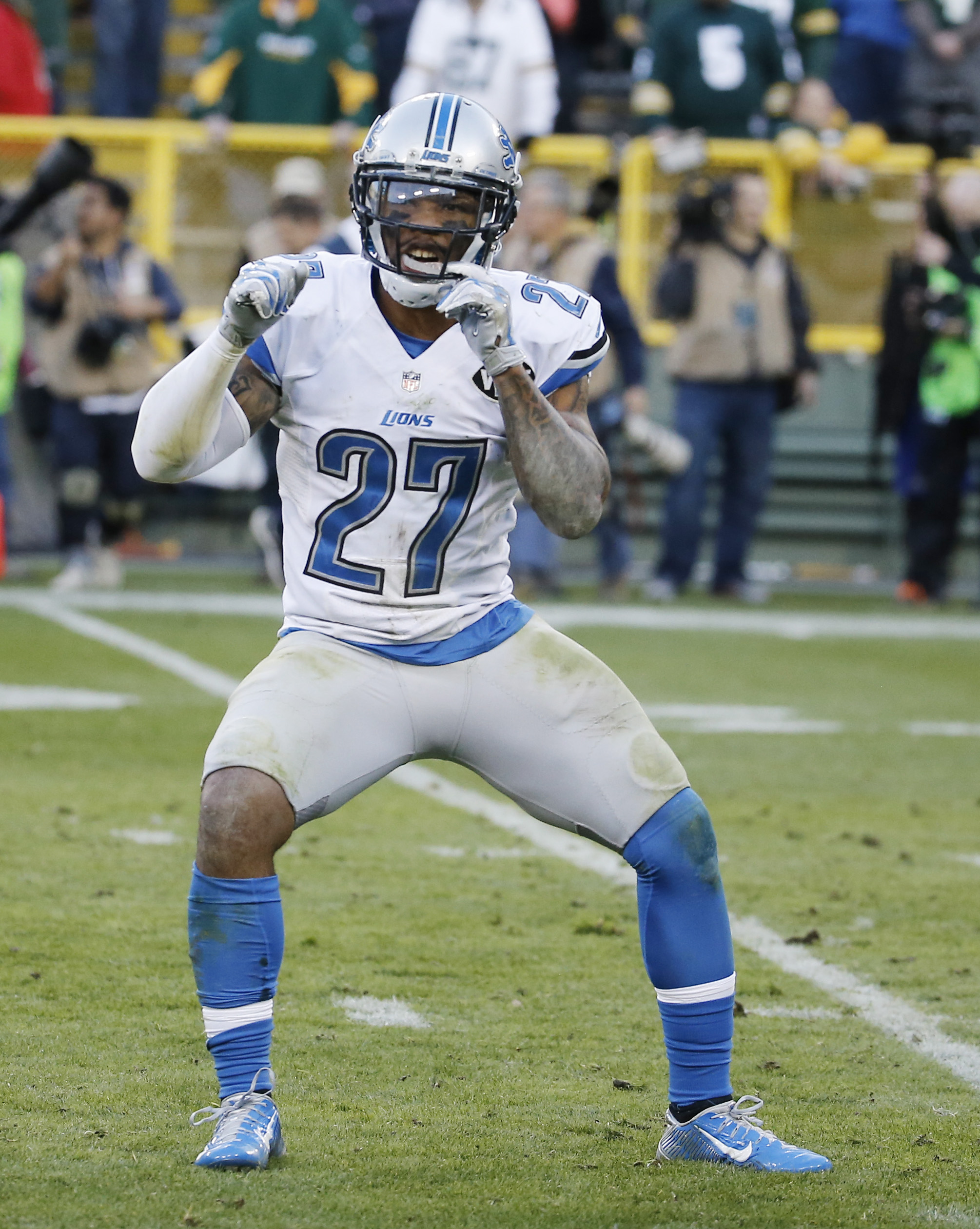 Detroit Lions' Glover Quin reacts after an NFL football game against the Green Bay Packers Sunday, Nov. 15, 2015, in Green Bay, Wis. The Lions won 18-16. (AP Photo/Morry Gash)