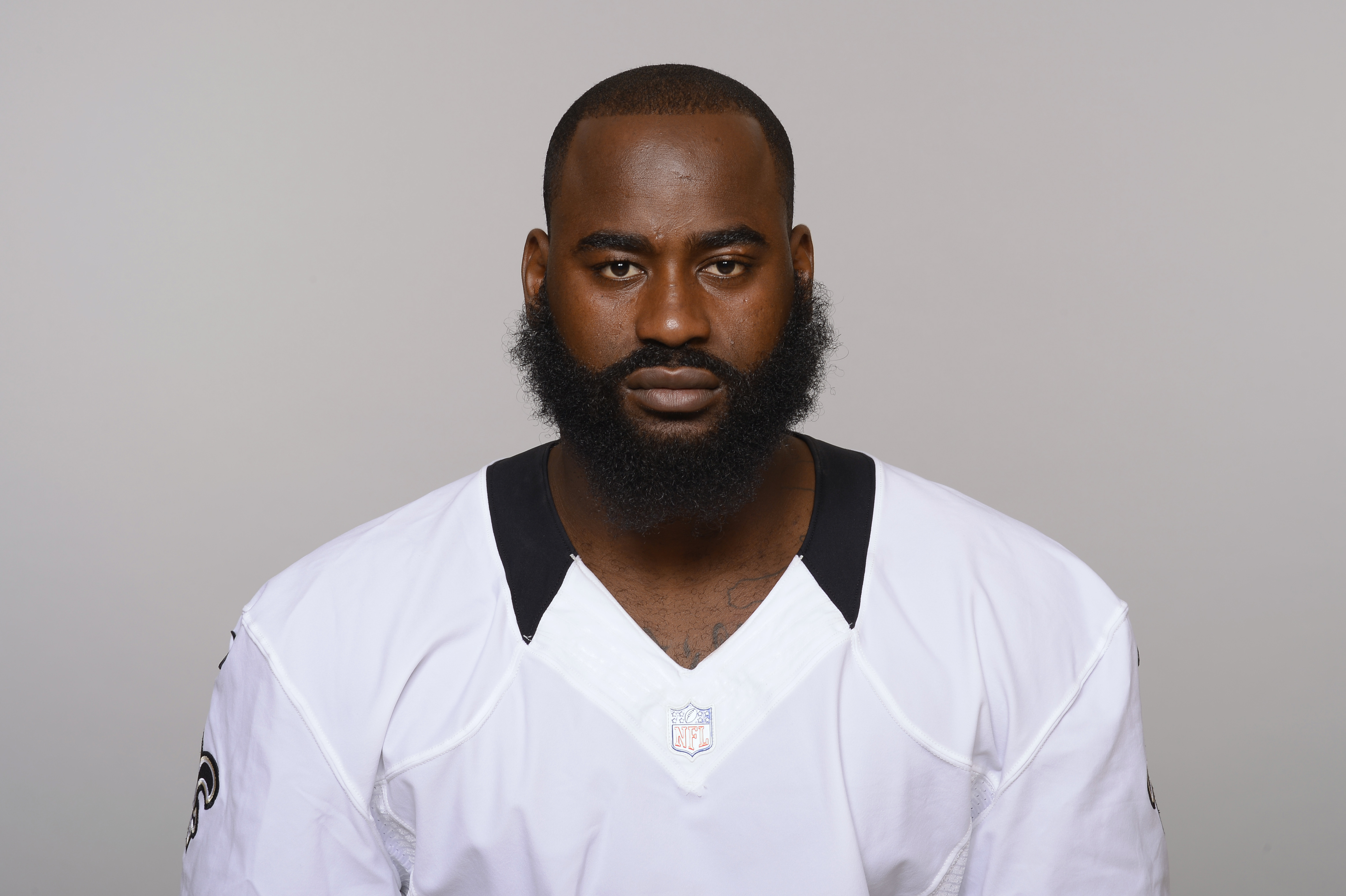 FILE - This 2015 file photo shows Junior Galette of the New Orleans Saints NFL football team. Redskins coach Jay Gruden says outside linebacker Junior Galette will miss the entire season after tearing his left Achilles tendon. Gruden discussed Galette's s