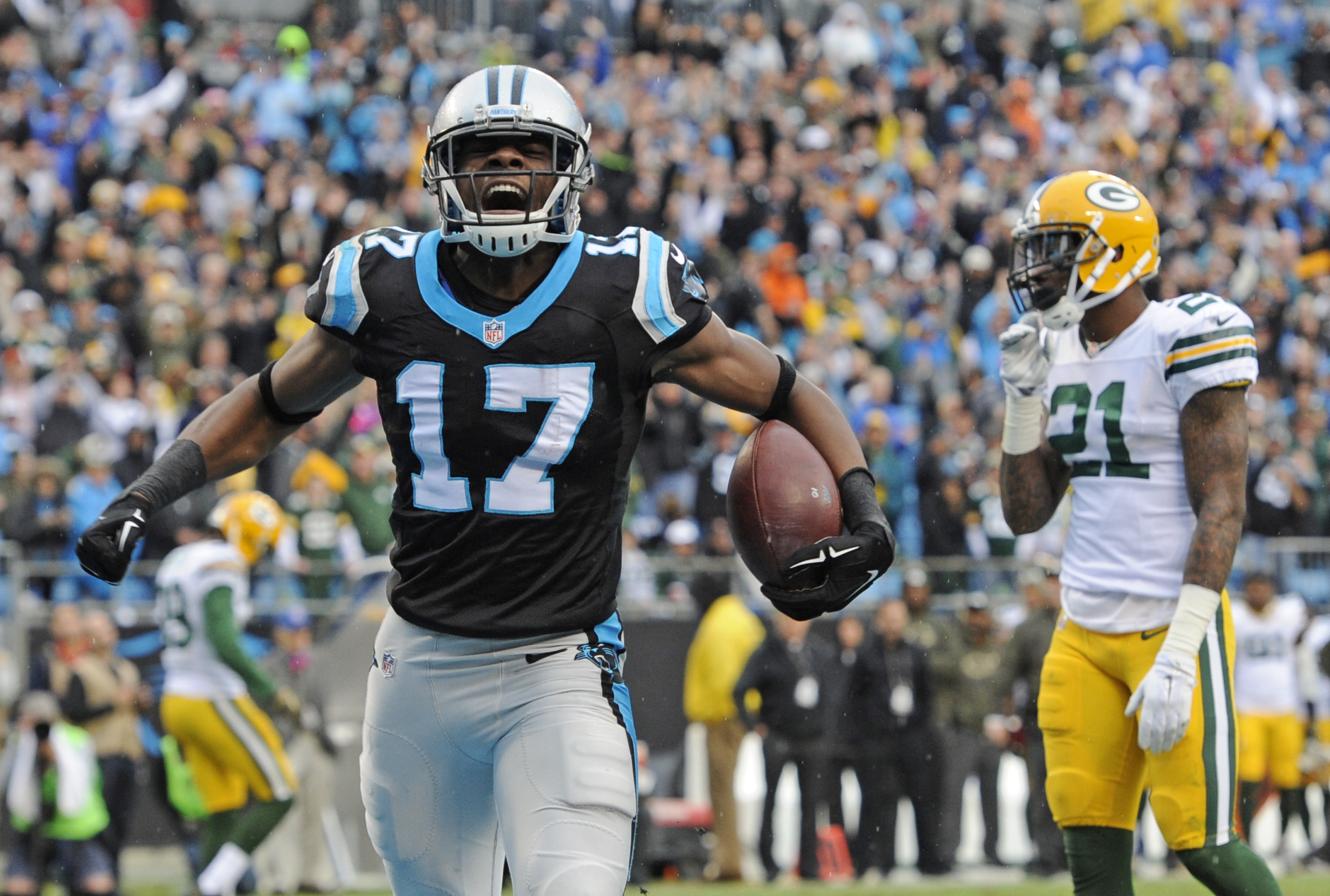 FILE - In this Nov. 8, 2015, file photo, Carolina Panthers' Devin Funchess (17) celebrates his touchdown as Green Bay Packers' Ha Ha Clinton-Dix (21) watches in the second half of an NFL football game in Charlotte, N.C. A last-second field goal keeps the