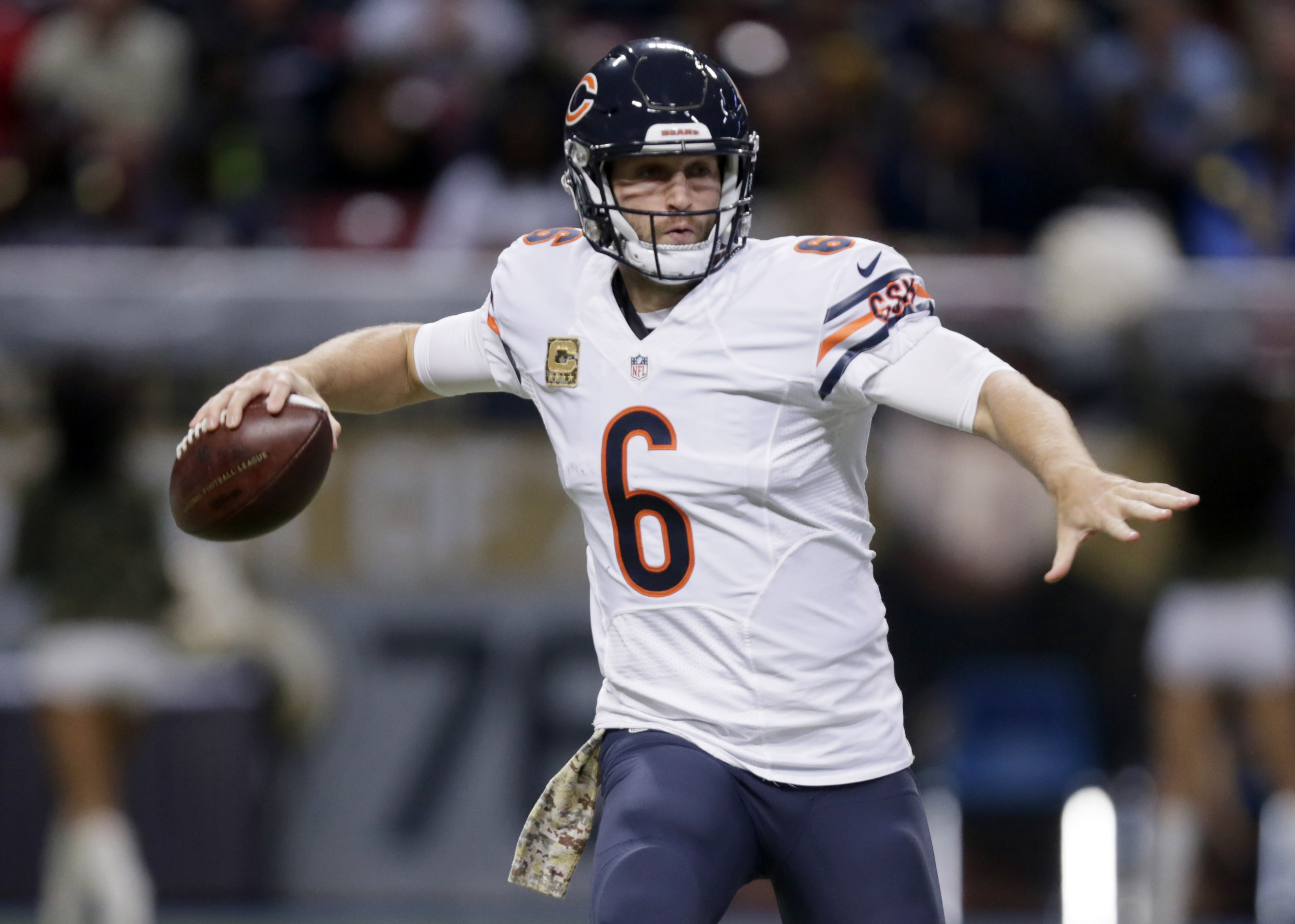 In this Nov. 15, 2015 photo, Chicago Bears quarterback Jay Cutler throws during the second quarter of an NFL football game against the St. Louis Rams Sunday, Nov. 15, 2015, in St. Louis. Cutler is playing about as well as he has since the Bears acquired h