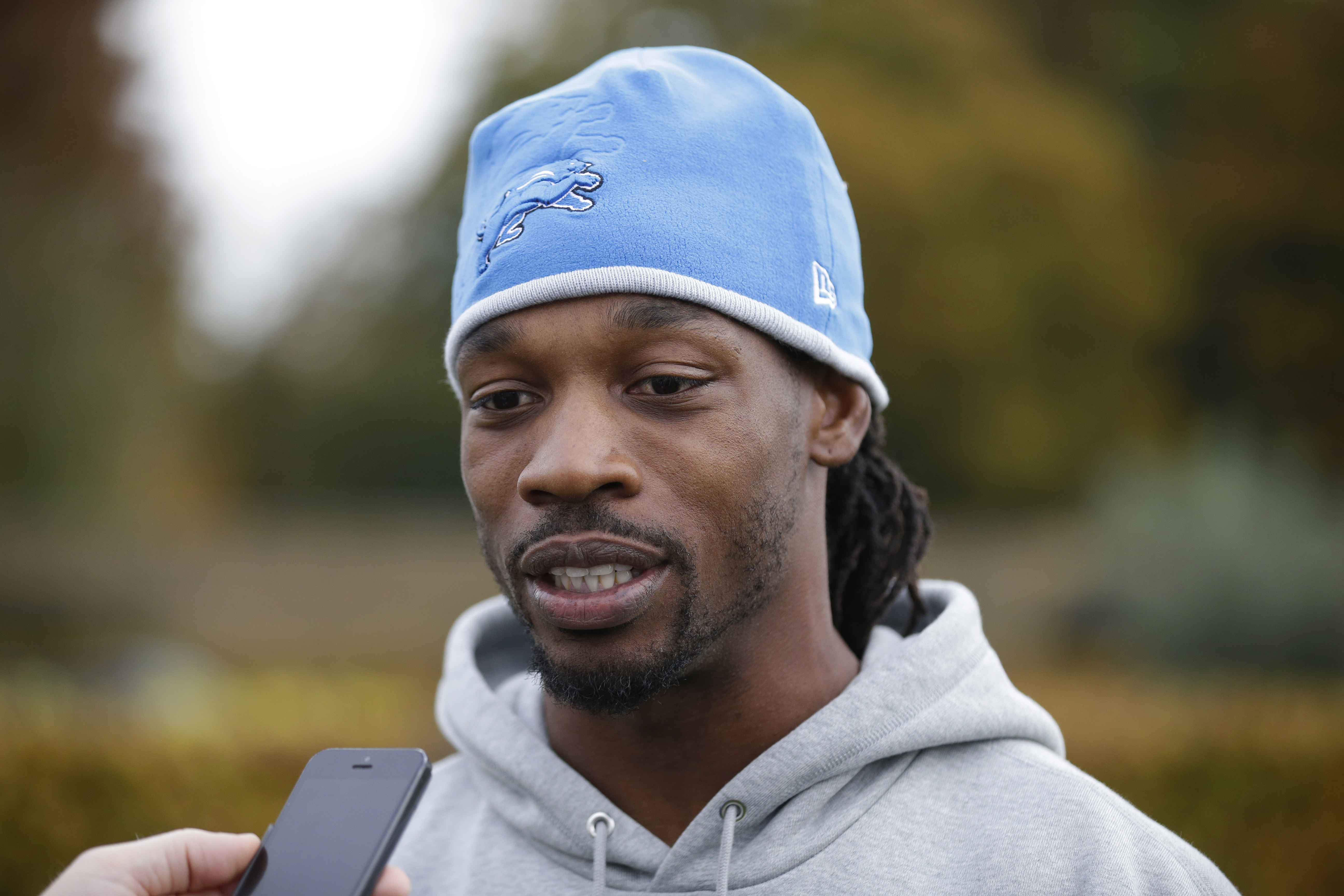 FILE - In this Oct. 28, 2015, file photo, Detroit Lions cornerback Rashean Mathis speaks to the media at the Grove Hotel in Chandler's Cross, England. Mathis recognizes that a concussion is a brain injury. His friends and family, though, did not seem to k