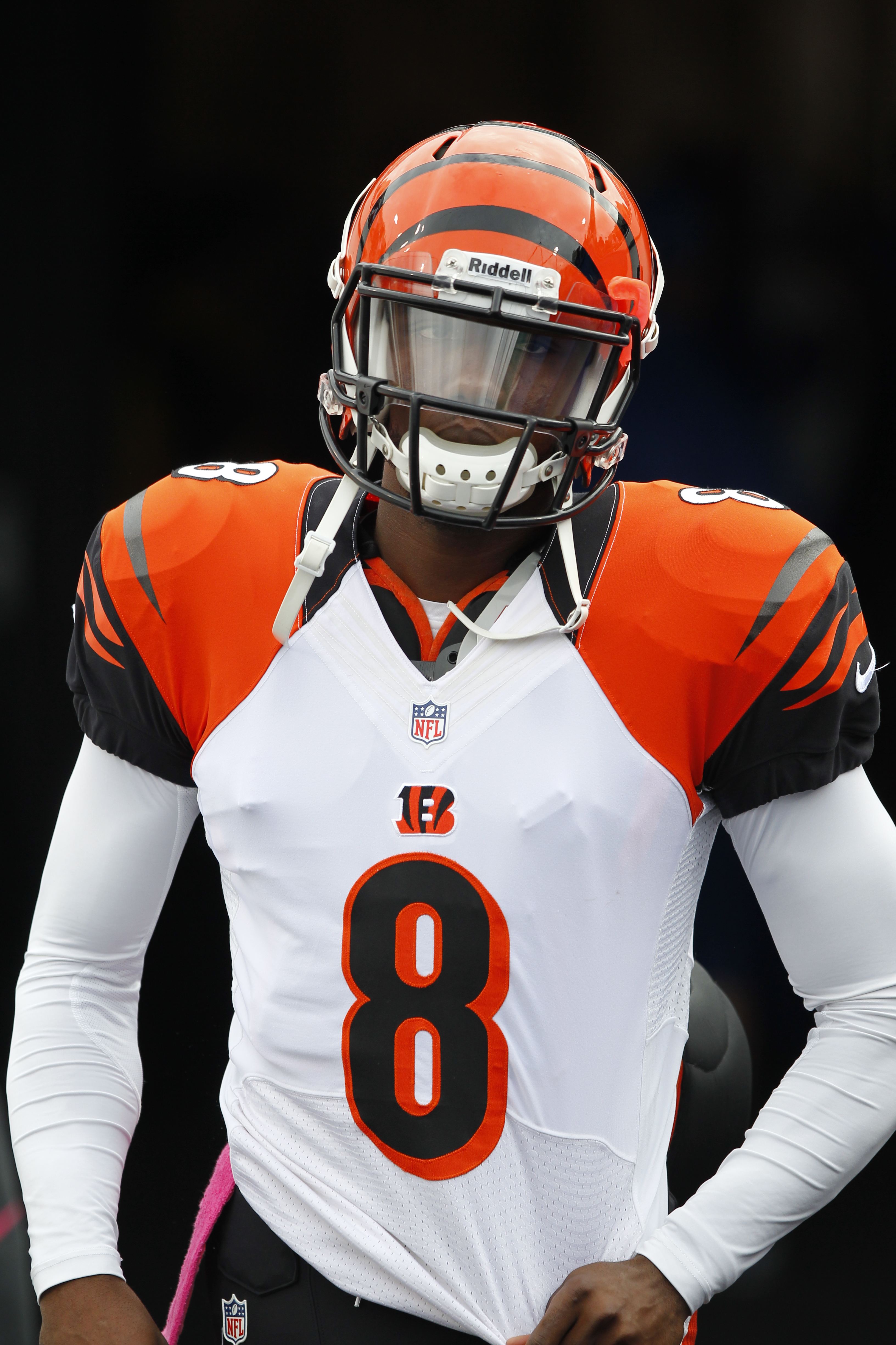 FILE - In this Oct. 13, 2015, file photo, Cincinnati Bengals quarterback Josh Johnson (8) runs onto the field to play against the Buffalo Bills in an NFL football game on in Orchard Park, N.Y. Johnson, now with the Bills, lives in the have-arm-will-travel