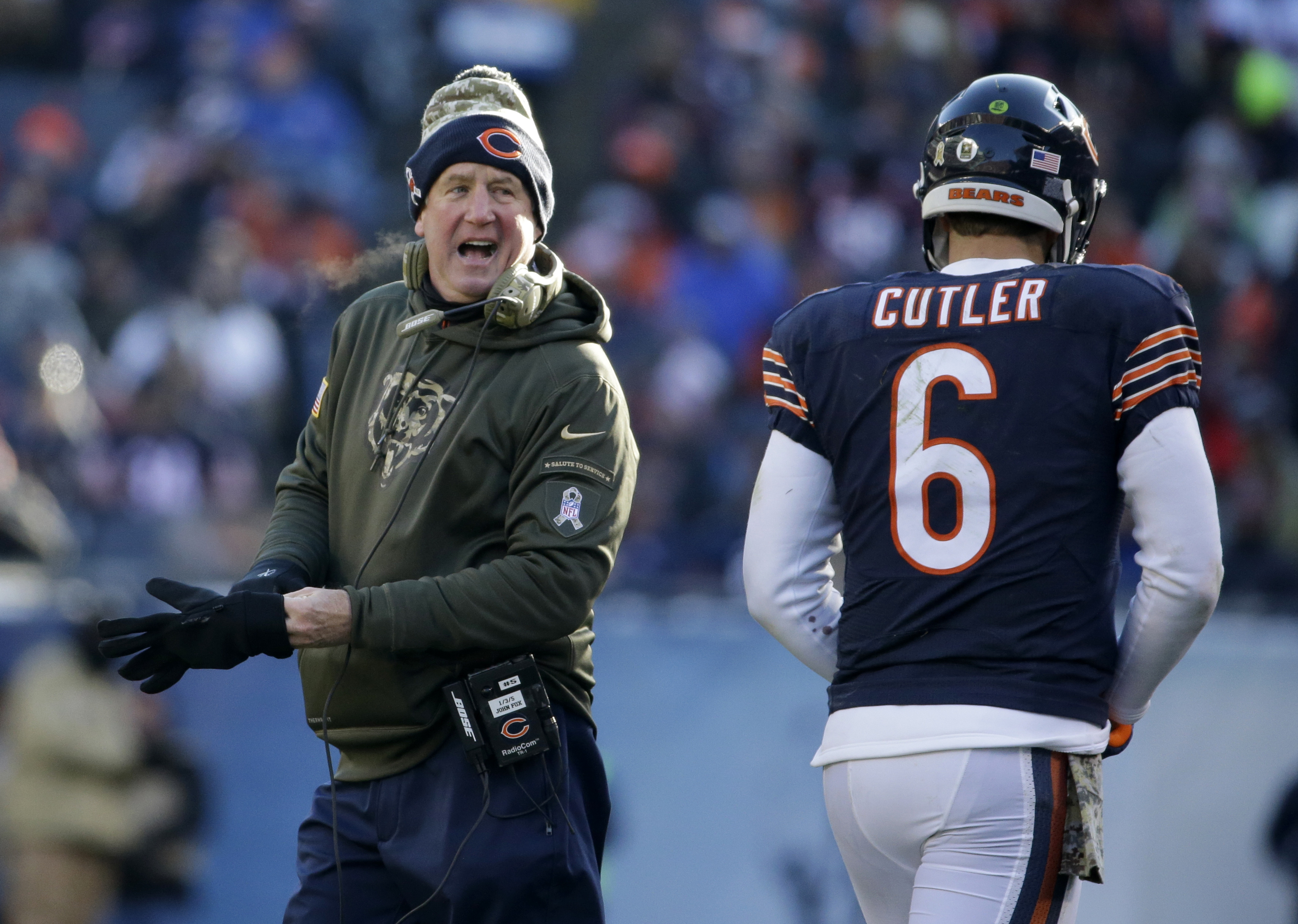 Chicago Bears head coach John Fox talks to quarterback Jay Cutler (6) as Cutler walks to the bench during the second half of an NFL football game against the Denver Broncos, Sunday, Nov. 22, 2015, in Chicago. (AP Photo/Nam Y. Huh)
