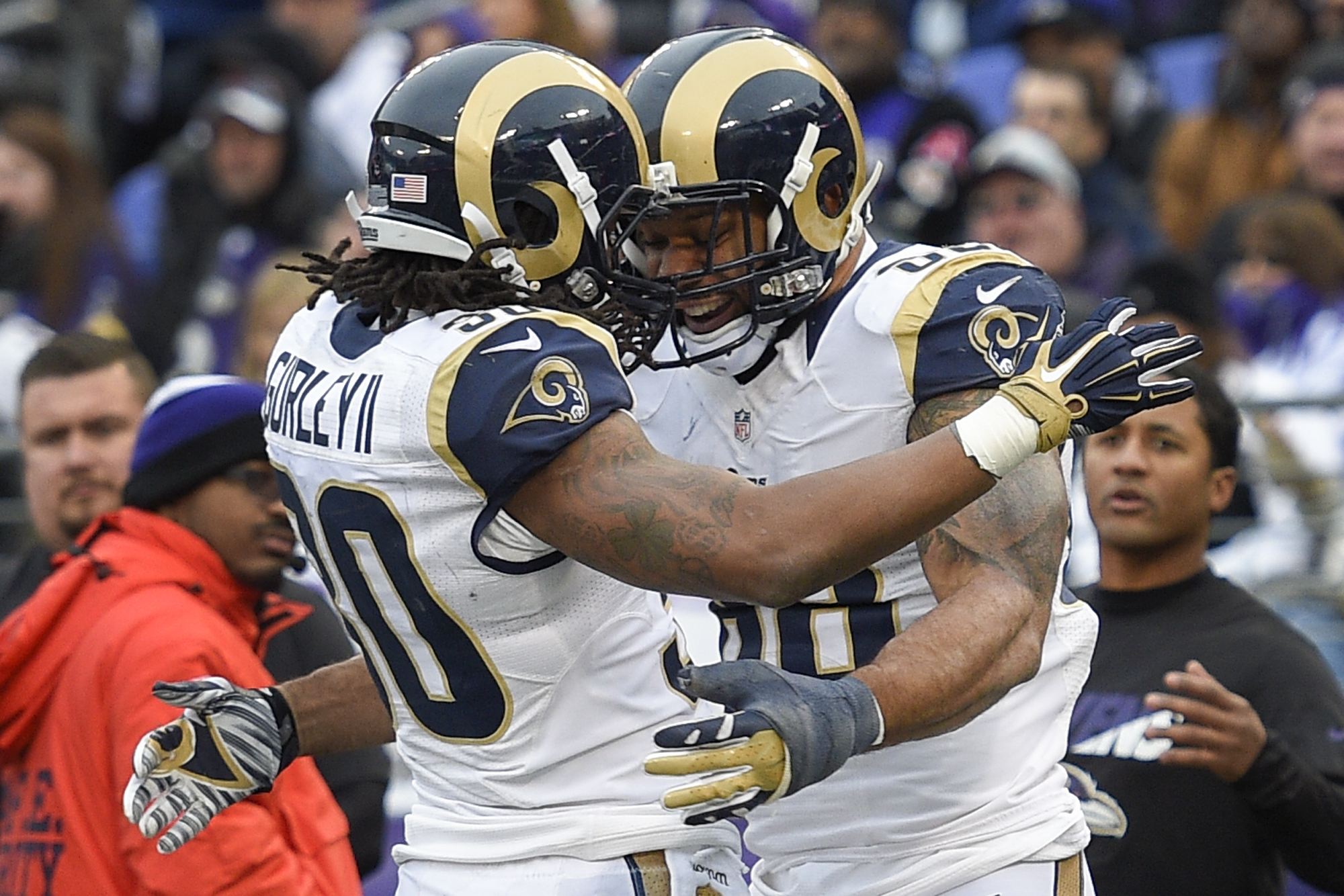 St. Louis Rams tight end Lance Kendricks (88) celebrates his touchdown with teammate running back Todd Gurley (30) during the second half of an NFL football game against the Baltimore Ravens in Baltimore, Sunday, Nov. 22, 2015. (AP Photo/Nick Wass)