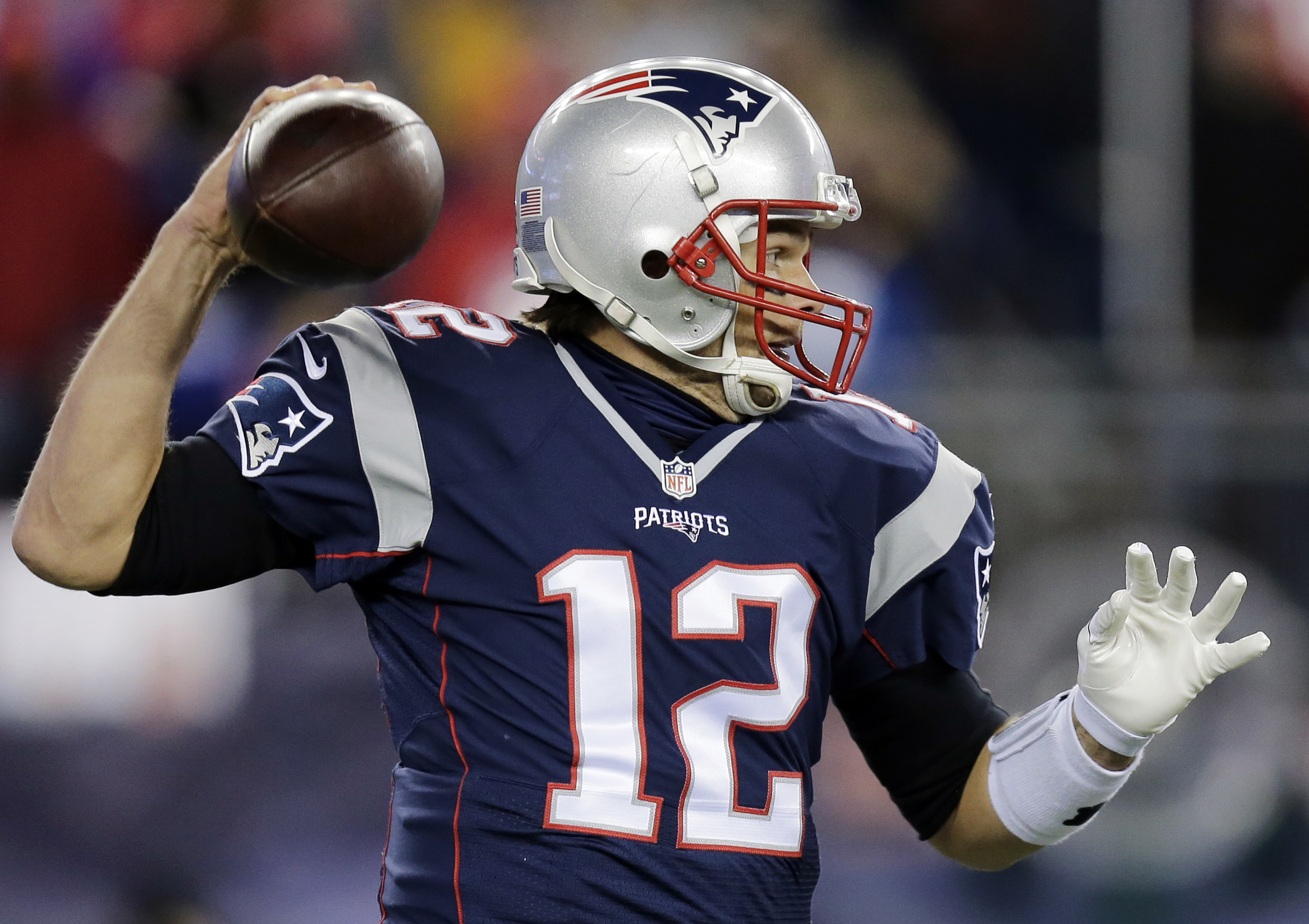 New England Patriots quarterback Tom Brady passes against the Buffalo Bills in the first half of an NFL football game, Monday, Nov. 23, 2015, in Foxborough, Mass. (AP Photo/Charles Krupa)