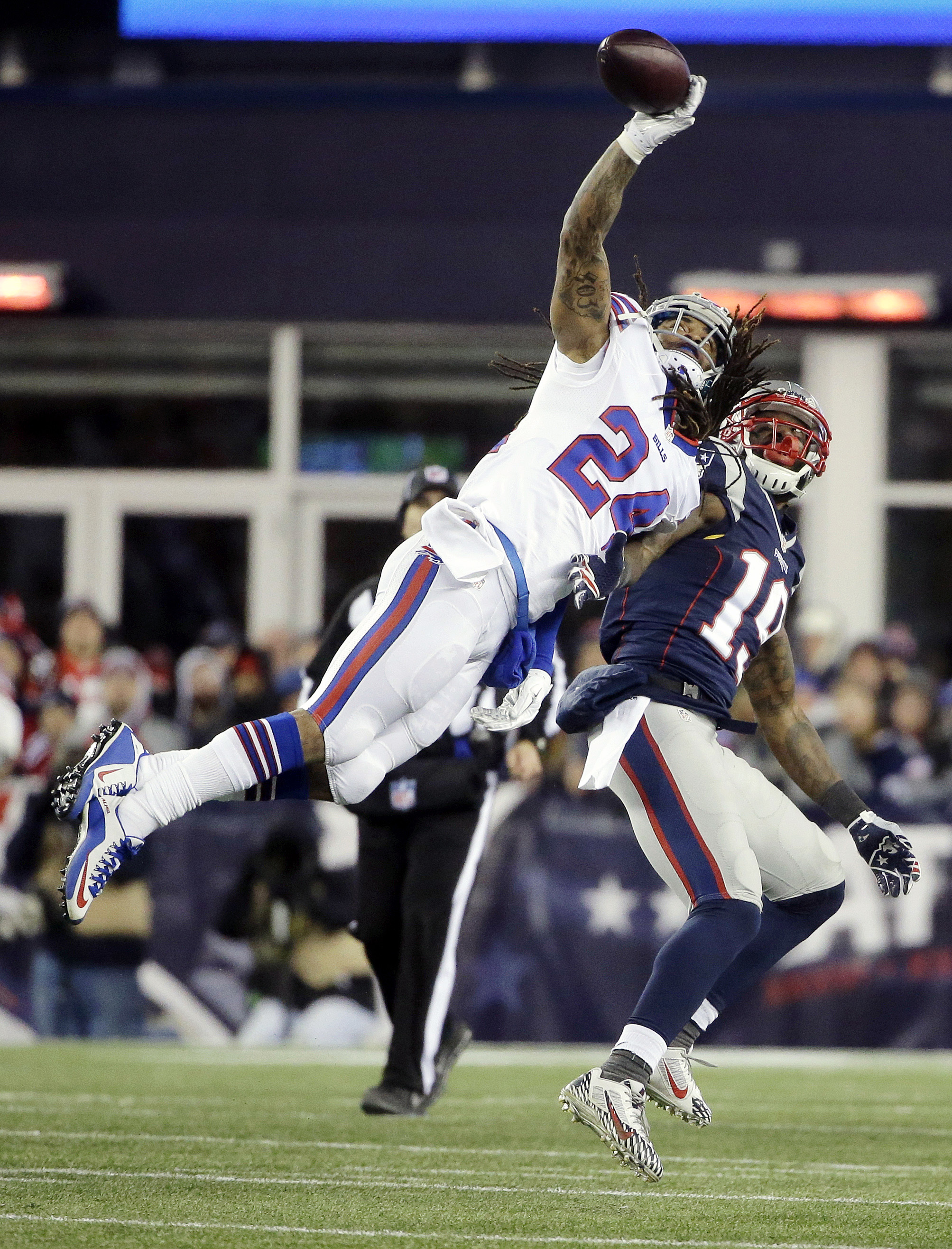 Buffalo Bills defensive back Stephon Gilmore (24) breaks up a pass intended for New England Patriots wide receiver Brandon LaFell (19) in the second half of an NFL football game, Monday, Nov. 23, 2015, in Foxborough, Mass. (AP Photo/Steven Senne)