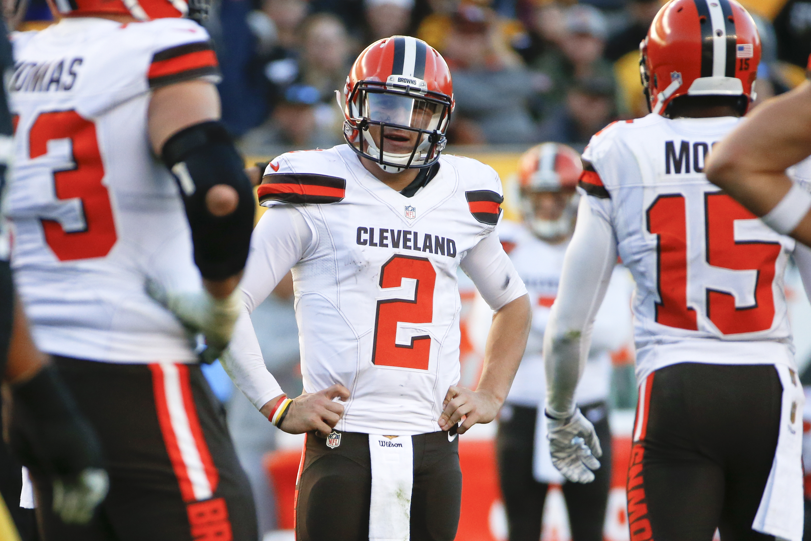 FILE - In this Nov. 15, 2015, file photo, Cleveland Browns quarterback Johnny Manziel (2) plays during an NFL football game against the Pittsburgh Steelers, in Pittsburgh. Browns coach Mike Pettine says he's disappointed with Manziel's off-field behavior