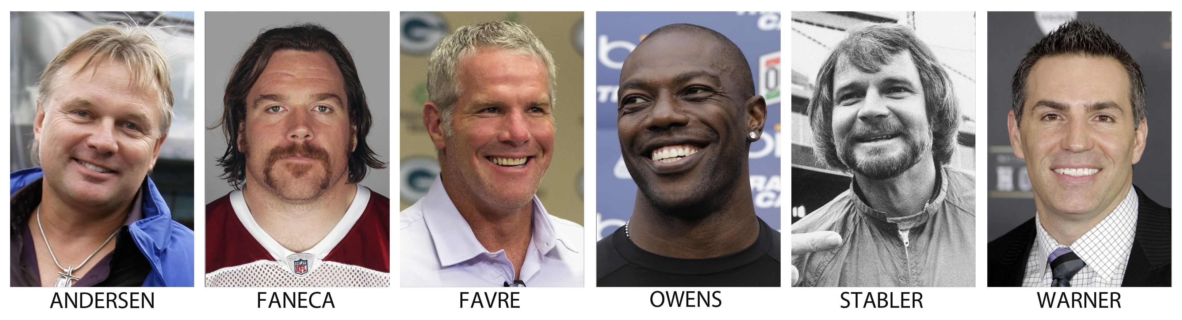 From left are file photos showing Morten Andersen, in 2009; Alan Faneca, in 2009; Brett Favre, in 2015; Terrell Owens, in 2012;Ken Stabler, in 1977 and Kurt Warner, in 2012. Brett Favre, Terrell Owens and Alan Faneca are semifinalists for the Pro Football