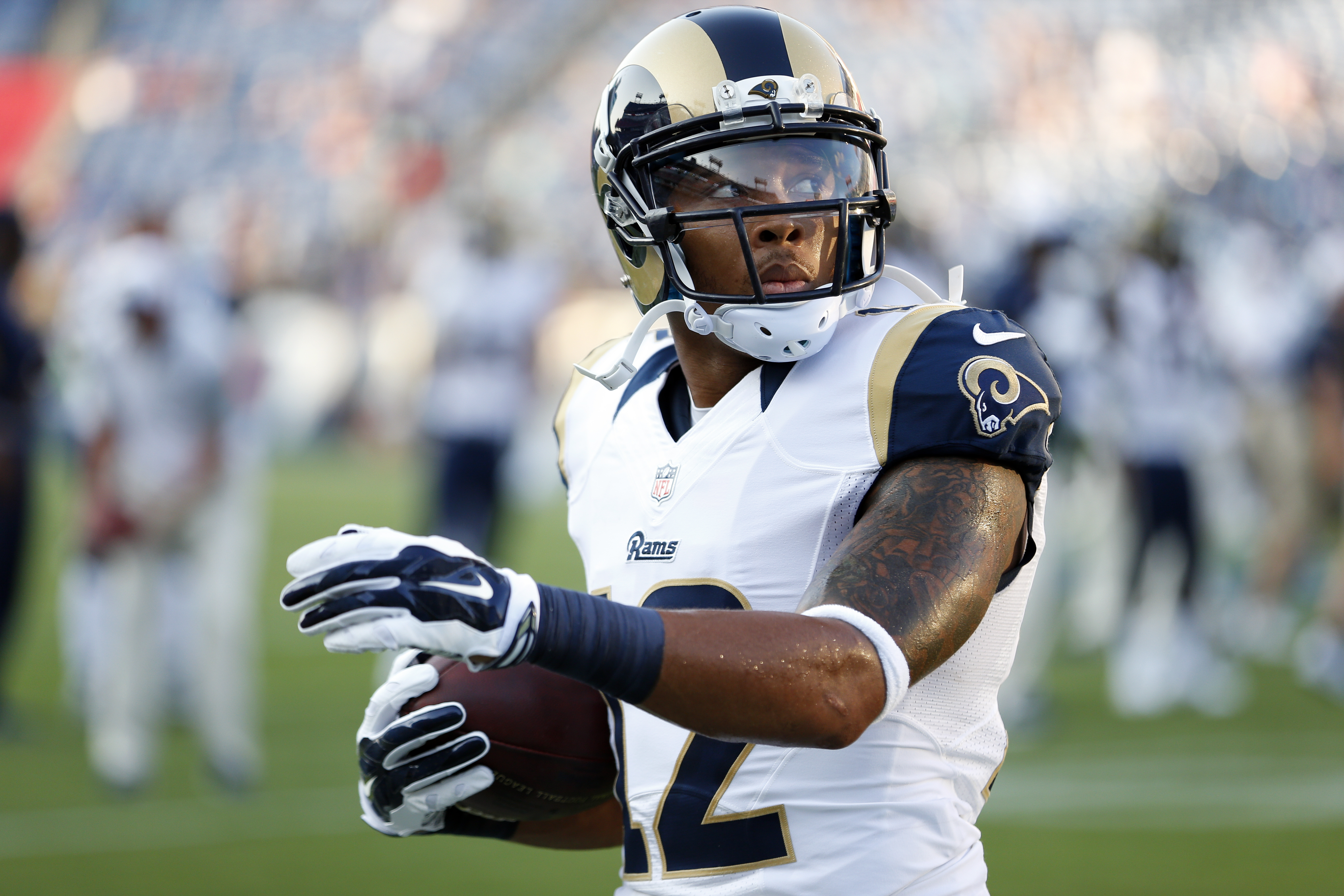 St. Louis Rams wide receiver Stedman Bailey warms up before a preseason NFL football game against the Tennessee Titans Sunday, Aug. 23, 2015, in Nashville, Tenn. (AP Photo/Weston Kenney)