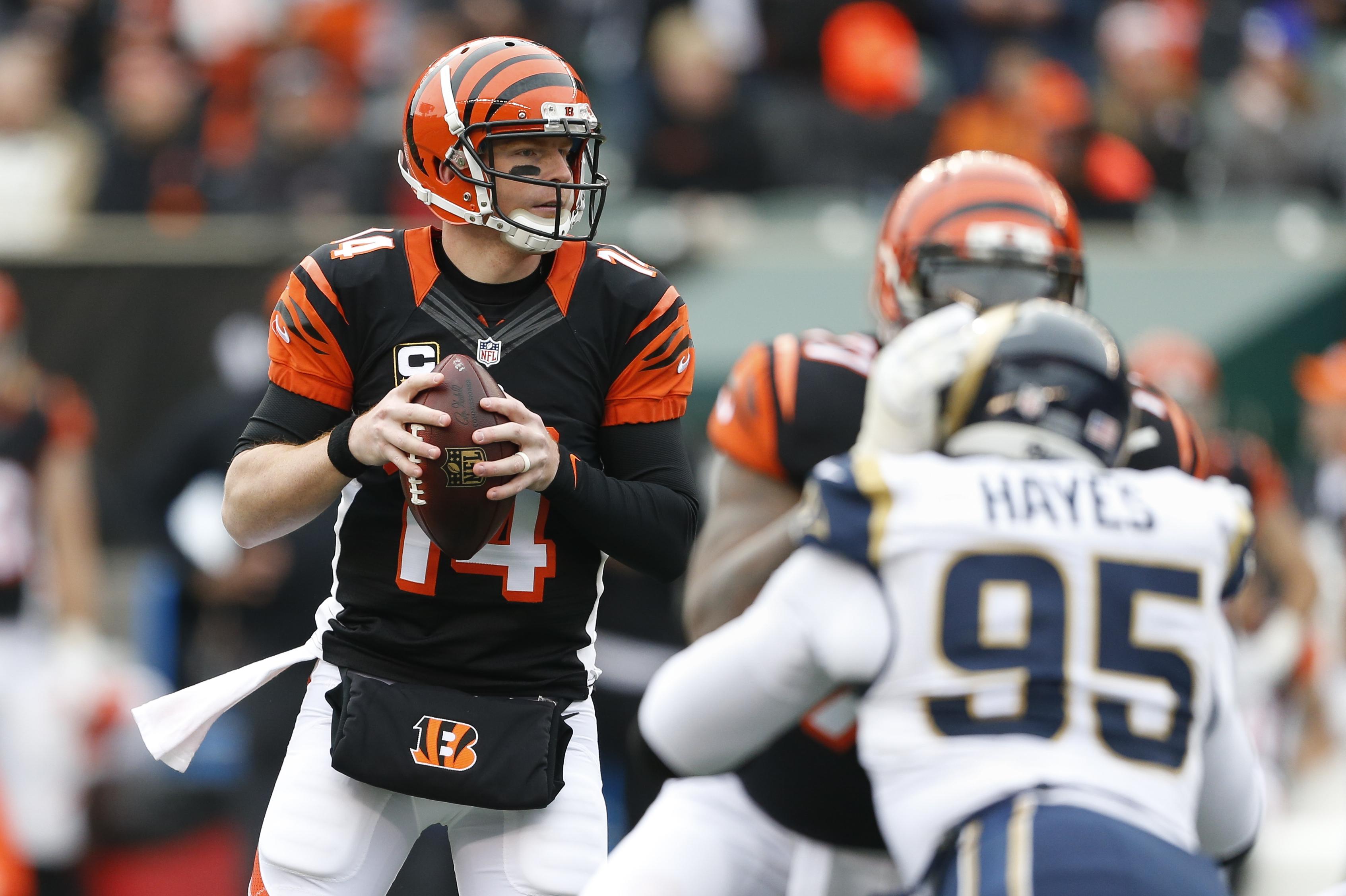 Cincinnati Bengals quarterback Andy Dalton (14) looks to pass in the first half of an NFL football game against the St. Louis Rams, Sunday, Nov. 29, 2015, in Cincinnati. (AP Photo/Gary Landers)