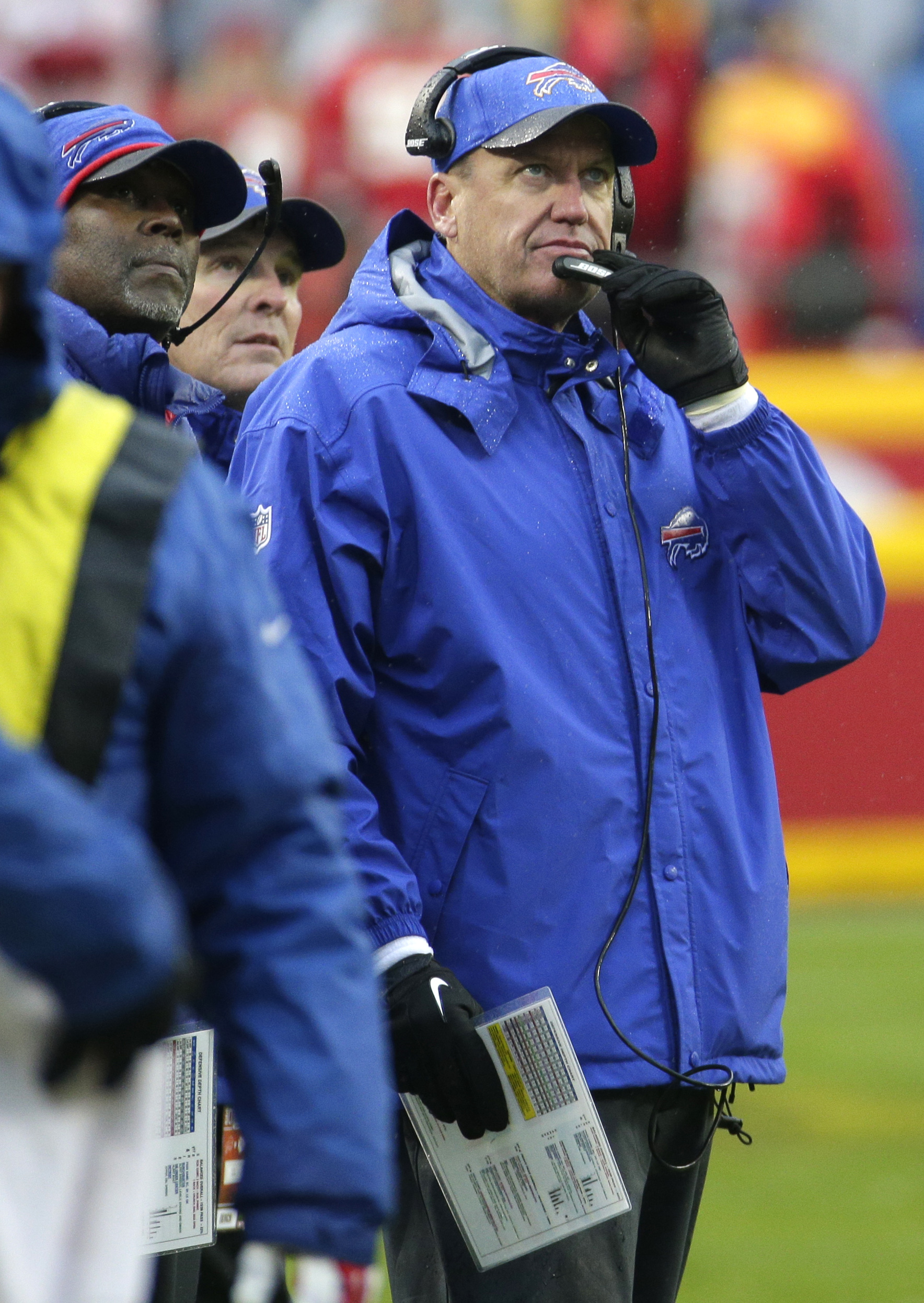 Buffalo Bills head coach Rex Ryan looks at the scoreboard during the second half of an NFL football game against the Kansas City Chiefs in Kansas City, Mo., Sunday, Nov. 29, 2015. (AP Photo/Charlie Riedel)