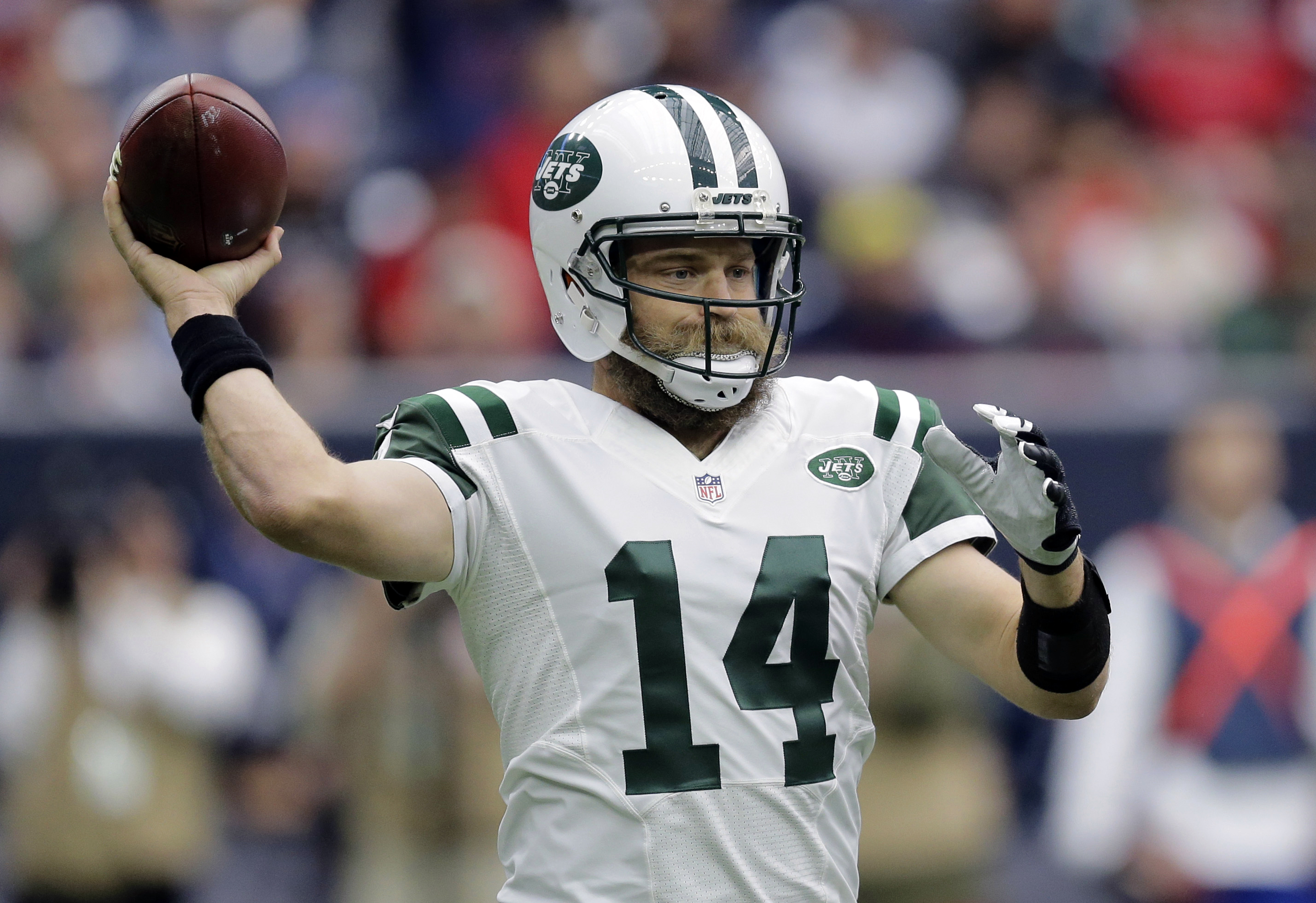 FILE - In this Nov. 22, 2015 file photo, New York Jets quarterback Ryan Fitzpatrick (14) looks to pass against the Houston Texans during the first half of an NFL football game in Houston. Fitzpatrick was largely overshadowed by other splashier offseason m