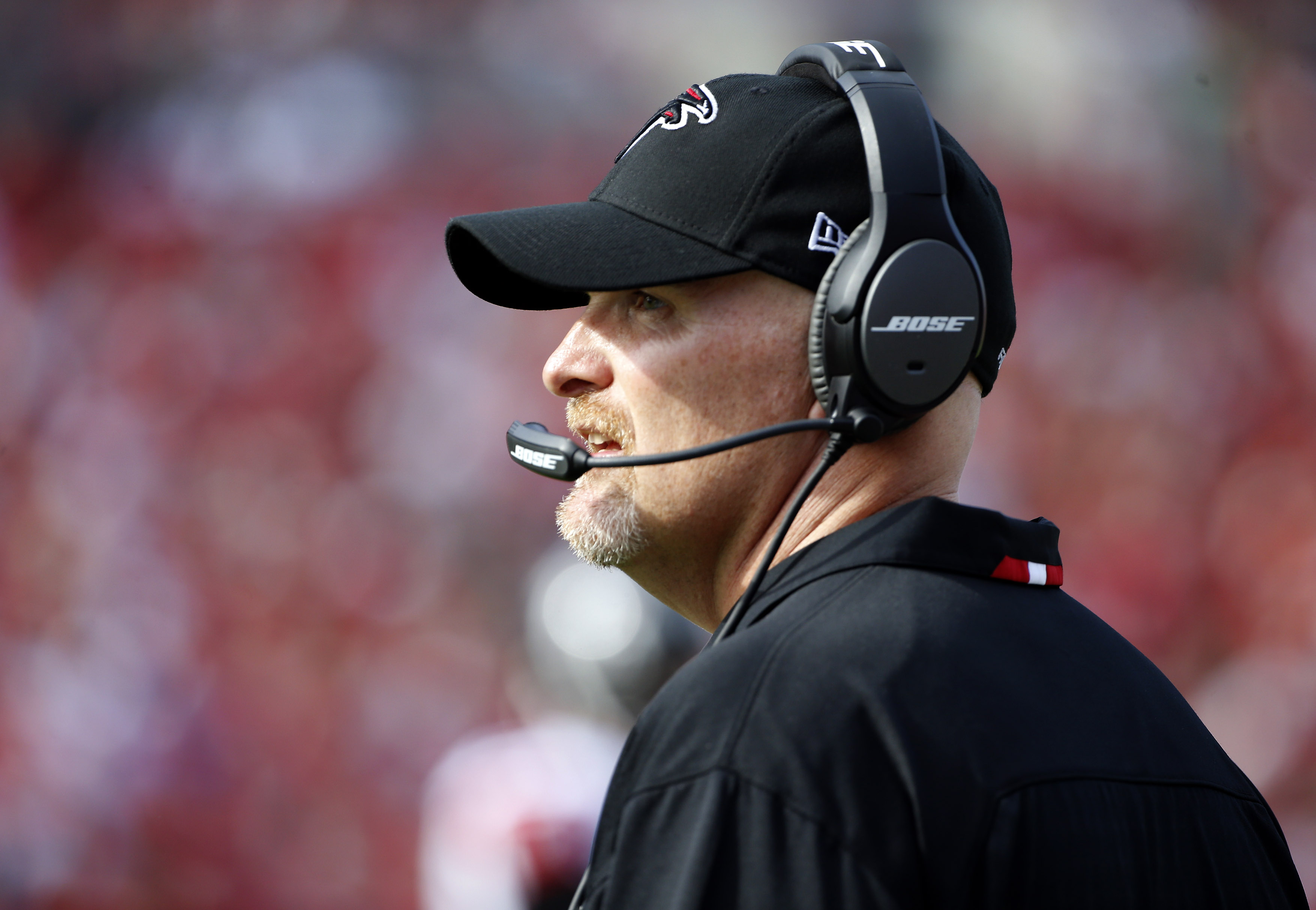 In this photo taken on Dec. 6, 2015, Atlanta Falcons head coach Dan Quinn watches the first quarter of an NFL football game against the Tampa Bay Buccaneers, in Tampa, Fla. Quinn counted 15 missed tackles two weeks ago and double-digit whiffs for the Atla