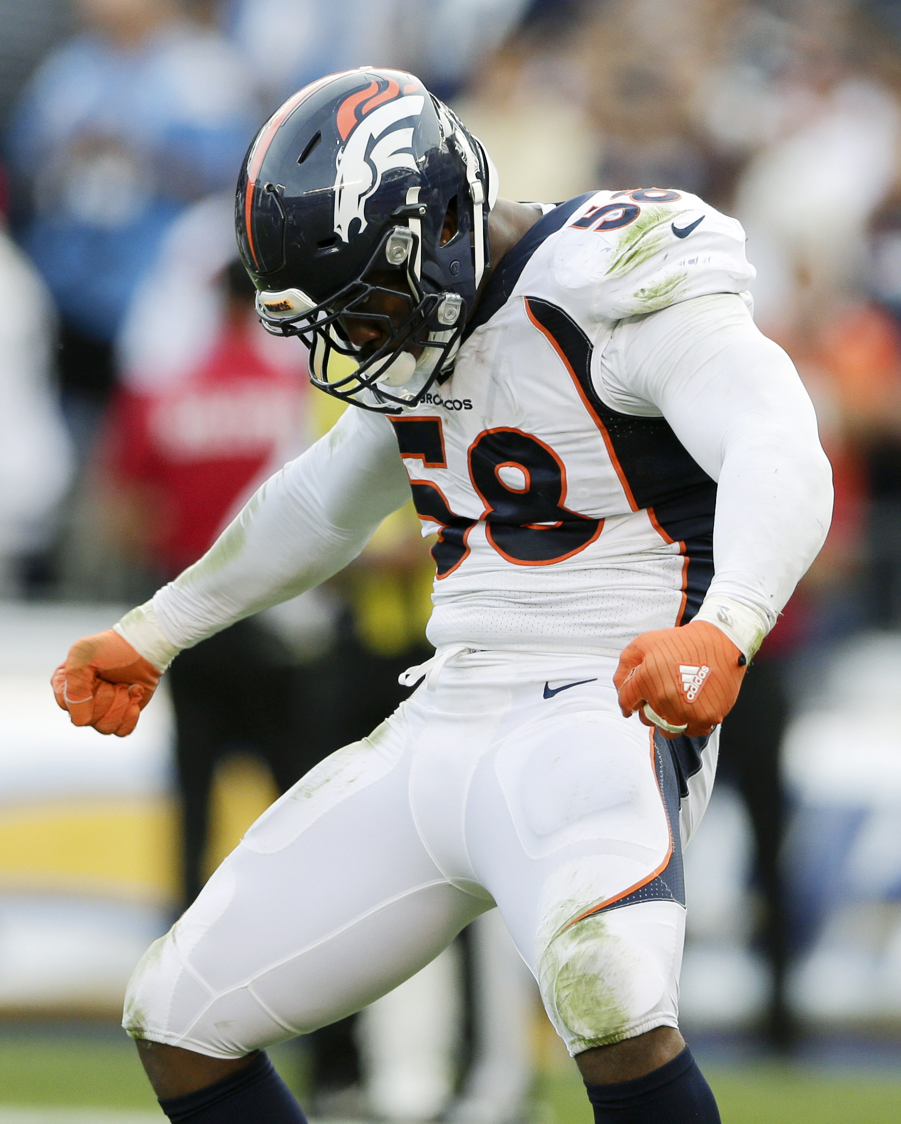 FILE - In this Sunday, Dec. 6, 2015, file photo, Denver Broncos outside linebacker Von Miller celebrates a sack against the San Diego Chargers during the second half of an NFL football game in San Diego. Miller says that every sack that he registers merit