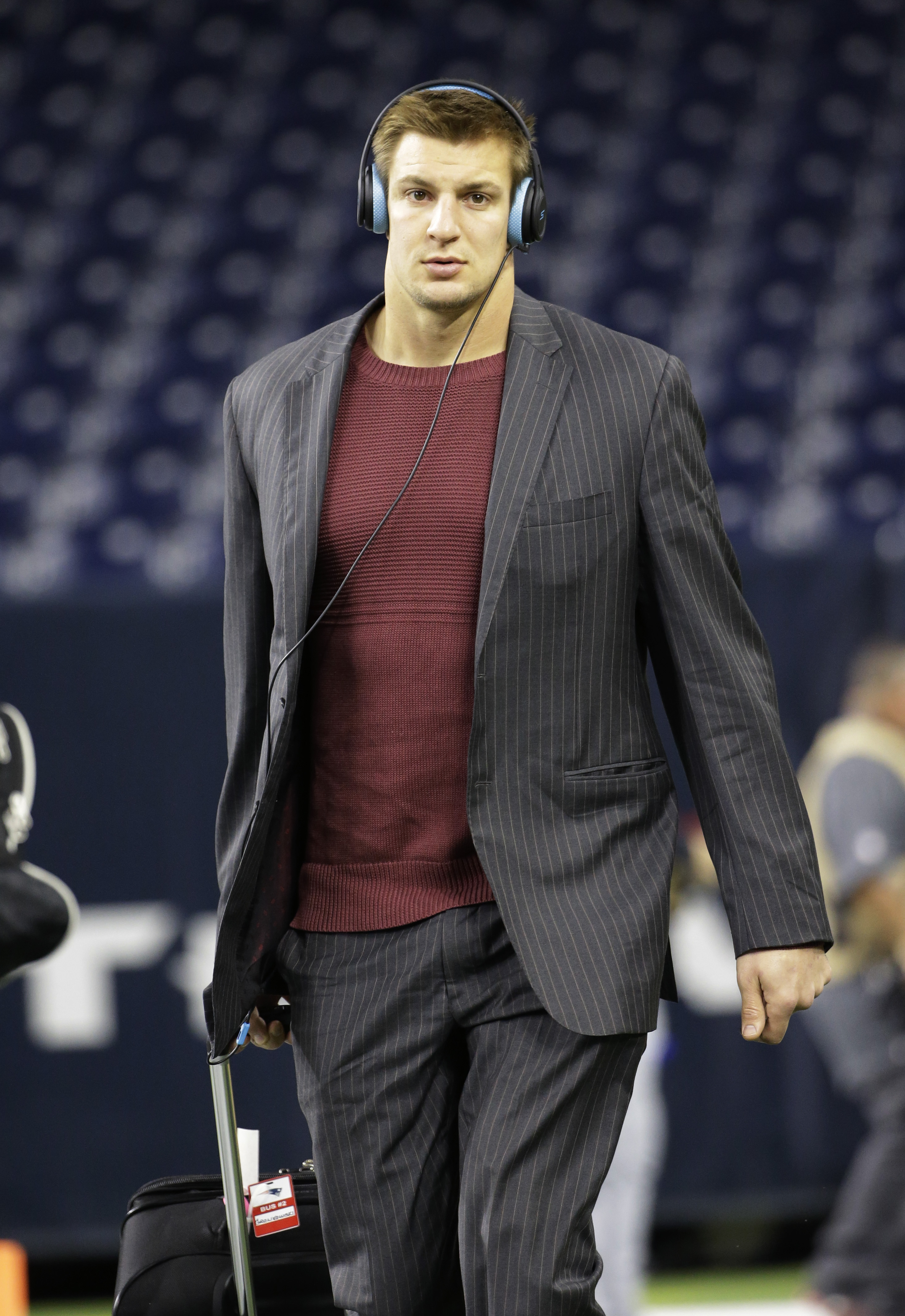 New England Patriots tight end Rob Gronkowski arrives at NRG Stadium before an NFL football game against the Houston Texans, Sunday, Dec. 13, 2015, in Houston. (David J. Phillip)