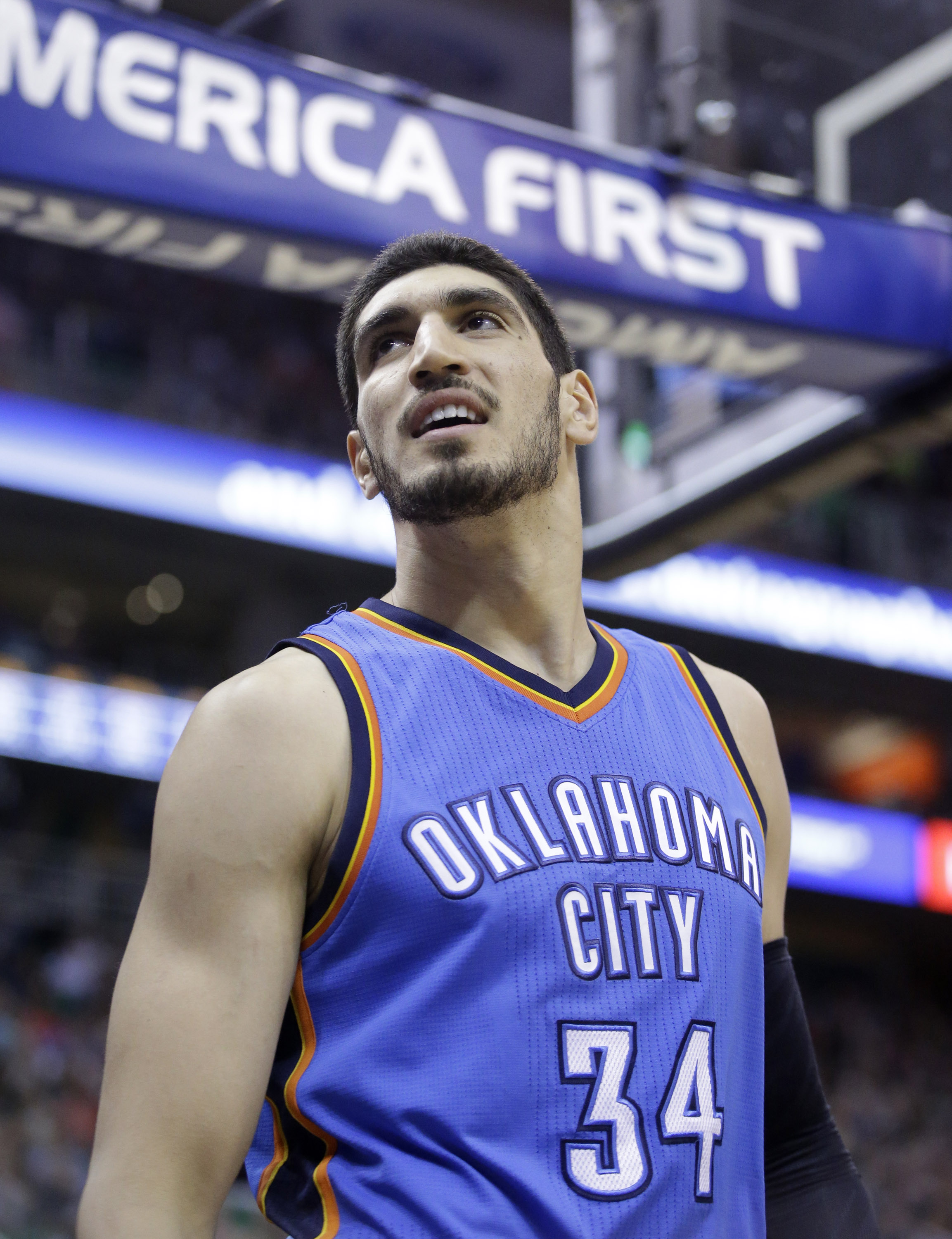 FILE - In this March 28, 2015, file photo, Oklahoma City Thunder center Enes Kanter (34) looks on in the second quarter of an NBA basketball game against the Utah Jazz, in Salt Lake City. Muslim athletes have responded over the past week after Donald Trum