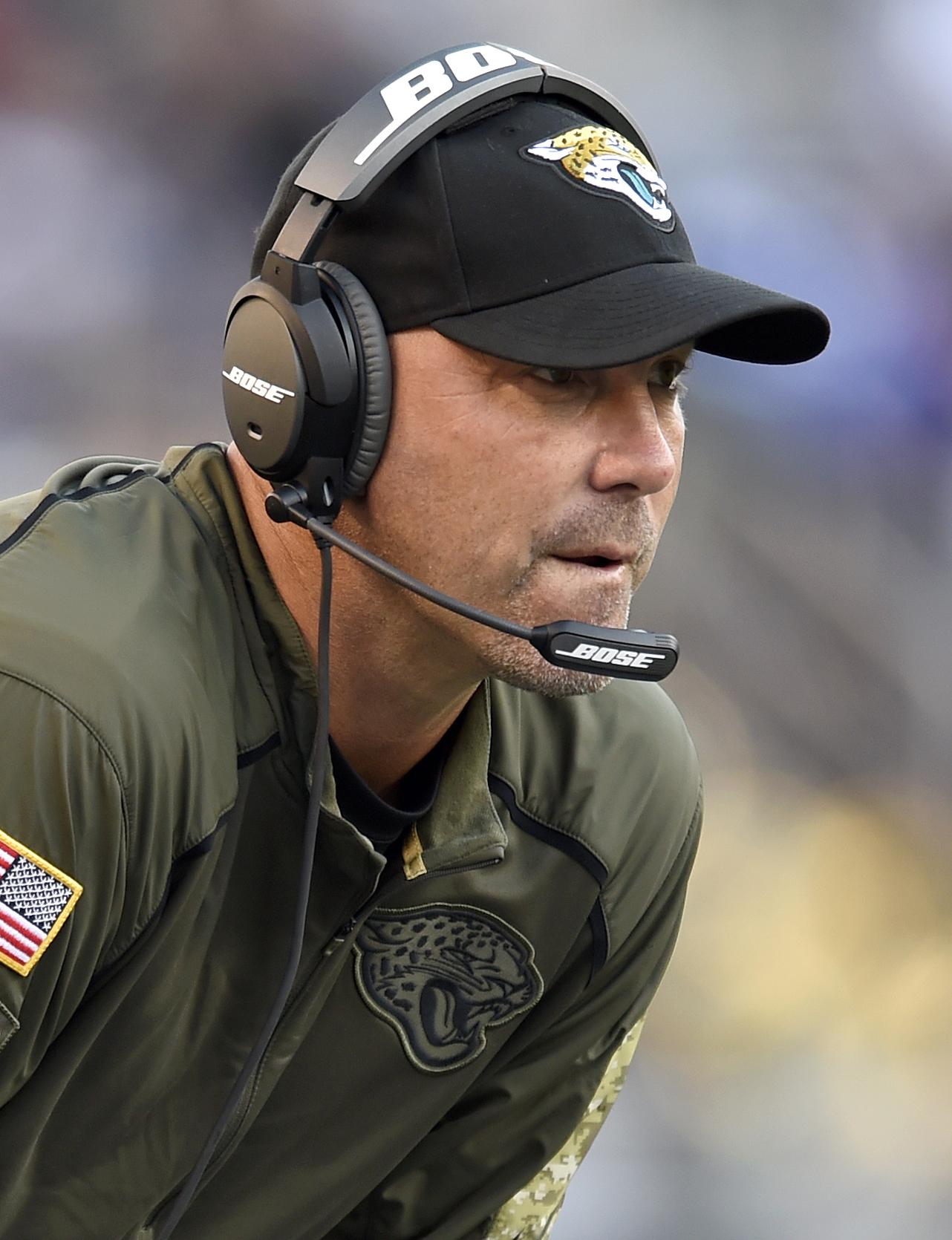 FILE - In this nov. 15, 2015, file photo, Jacksonville Jaguars head coach Gus Bradley watches the second half an NFL football gameagainst the Baltimore Ravens, in Baltimore. The Jaguars play the Atlanta Falcons on Sunday. (AP Photo/Gail Burton, File)