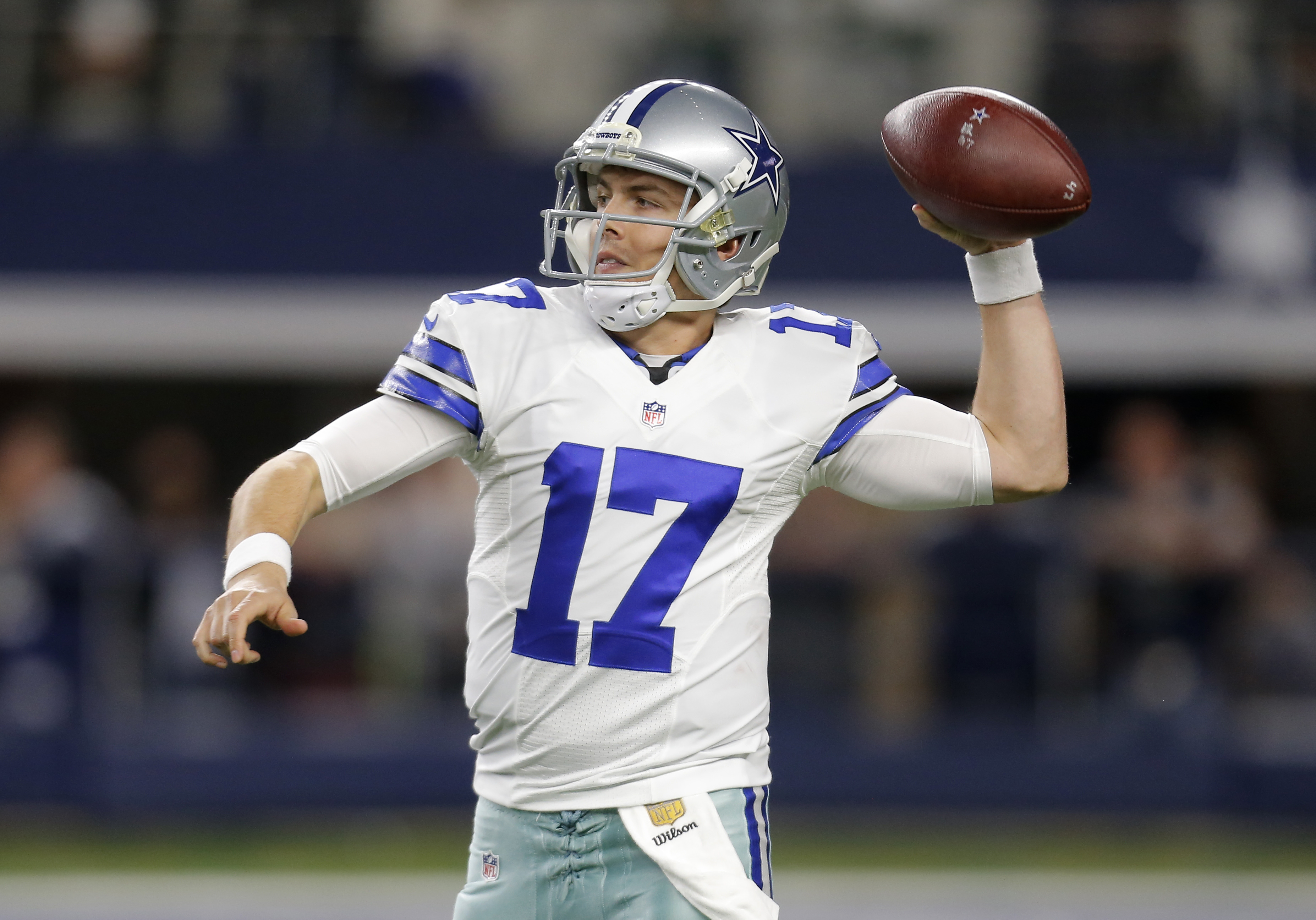 Dallas Cowboys quarterback Kellen Moore (17) throws a pass against the New York Jets in the first half of an NFL football game, Saturday, Dec. 19, 2015, in Arlington, Texas. (AP Photo/Brandon Wade)
