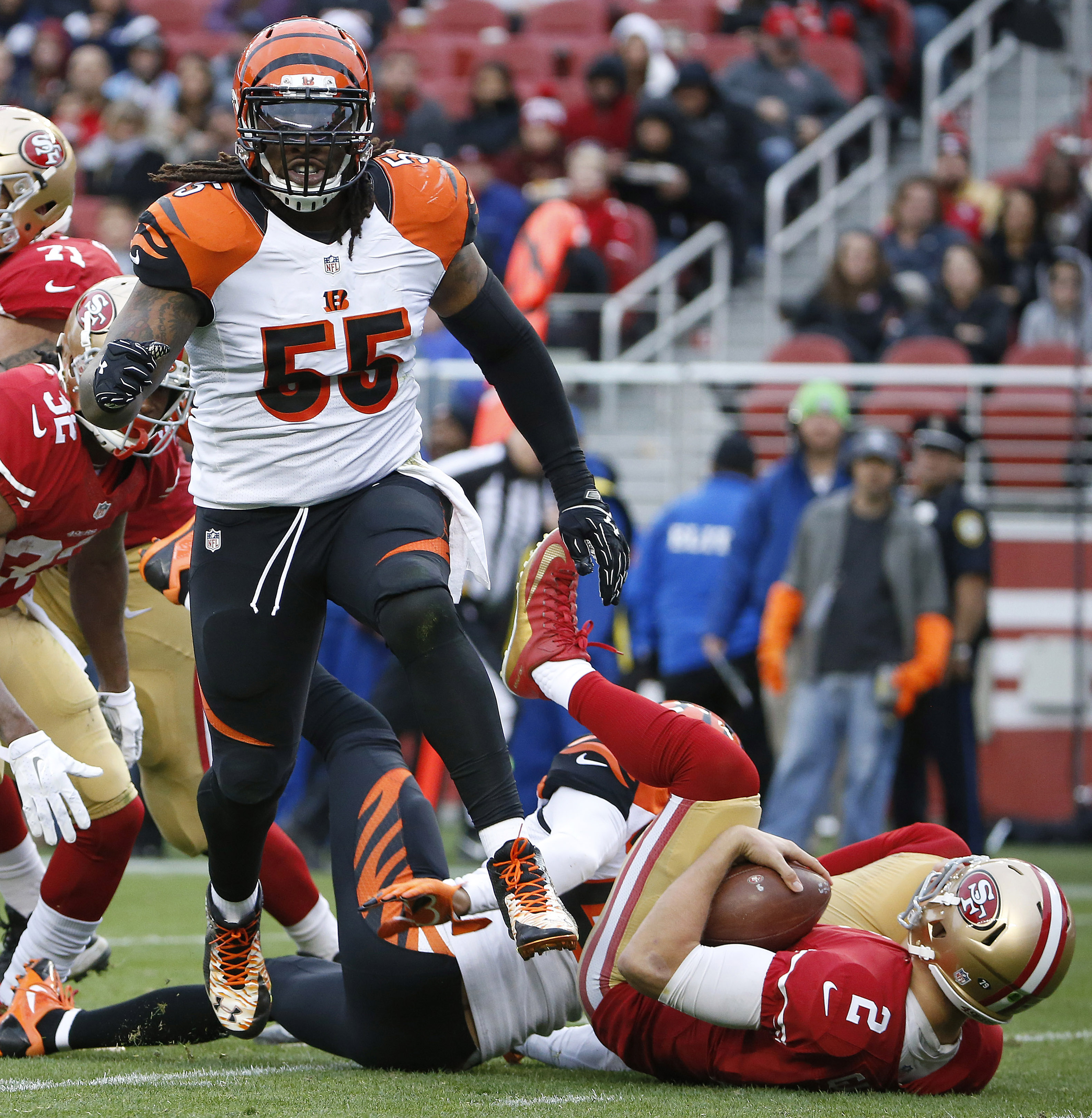 Cincinnati Bengals outside linebacker Vontaze Burfict (55) reacts after sacking San Francisco 49ers quarterback Blaine Gabbert (2) during the first half of an NFL football game in Santa Clara, Calif., Sunday, Dec. 20, 2015. (AP Photo/Tony Avelar)