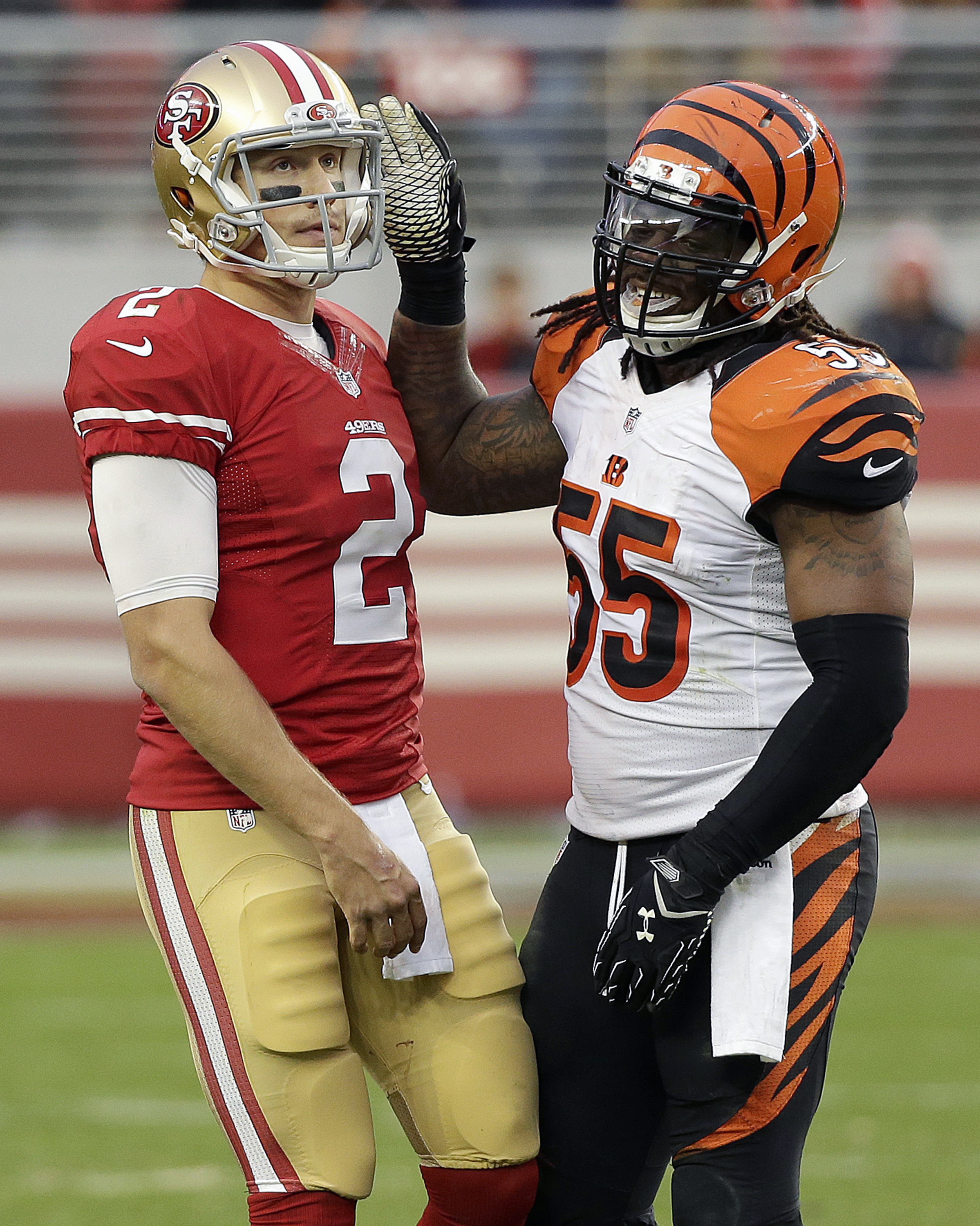 Cincinnati Bengals outside linebacker Vontaze Burfict (55) approaches San Francisco 49ers quarterback Blaine Gabbert (2) during the second half of an NFL football game in Santa Clara, Calif., Sunday, Dec. 20, 2015. (AP Photo/Eric Risberg)