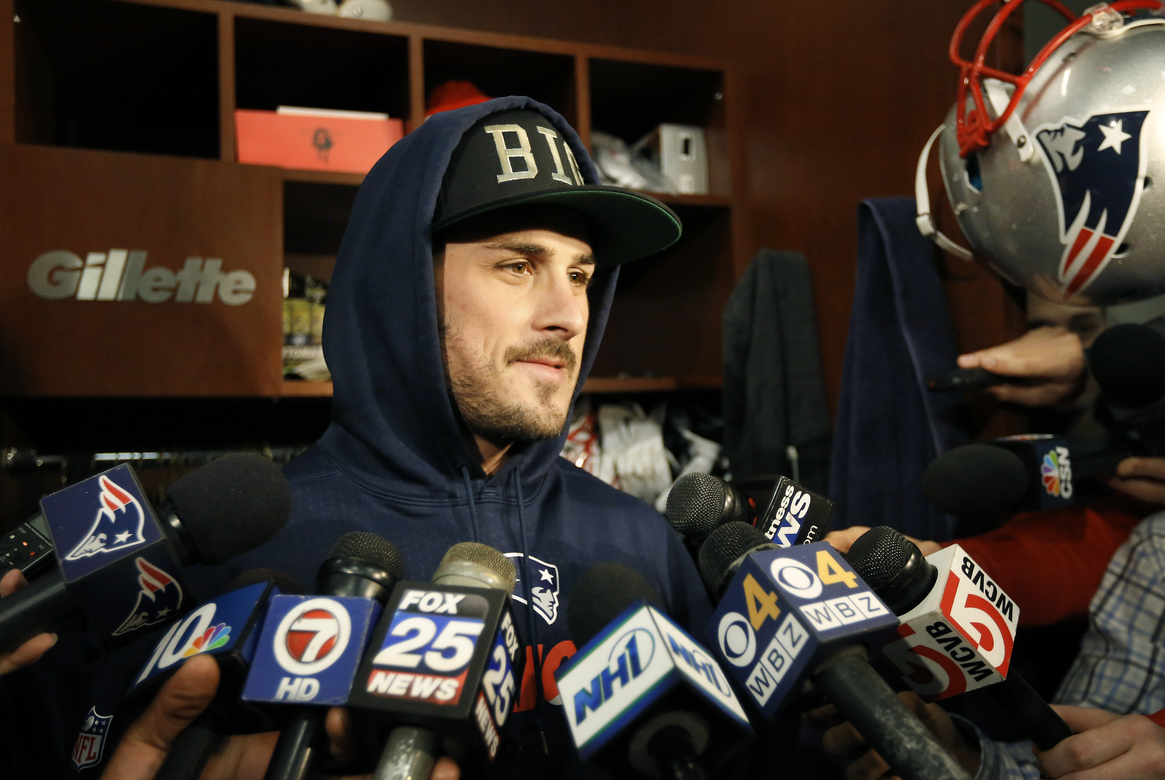 New England Patriots wide receiver Danny Amendola speaks with reporters in the team's locker room at Gillette Stadium before an NFL football practice, Wednesday, Dec. 23, 2015, in Foxborough, Mass. The Patriots are to play the New York Jets Sunday, Dec. 2