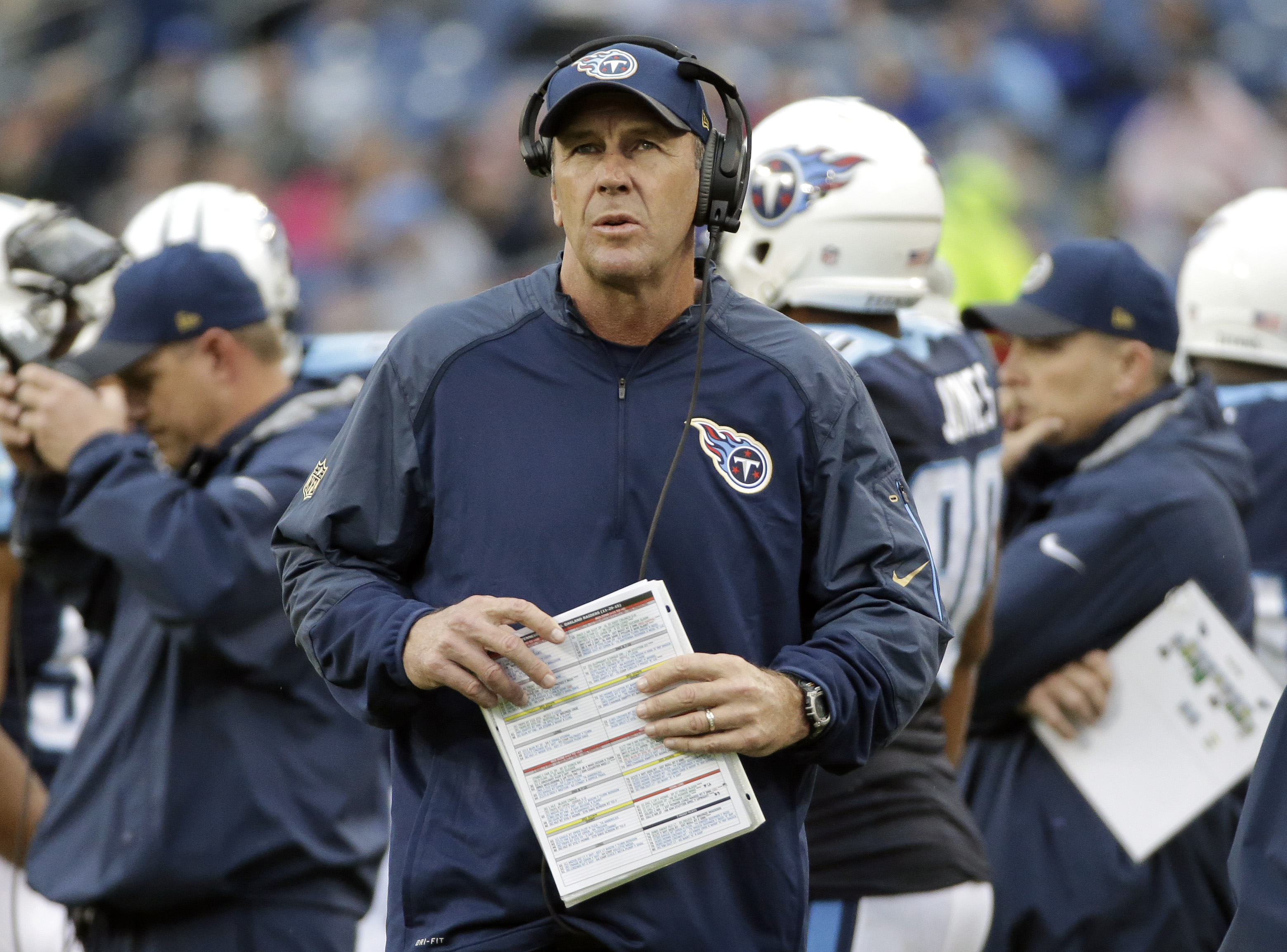 FILE - In this Sunday, Nov. 29, 2015 file photo, Tennessee Titans interim head coach Mike Mularkey watches from the scoreboard in the first half of an NFL football game against the Oakland Raiders in Nashville, Tenn. Mularkey has two games left as interim