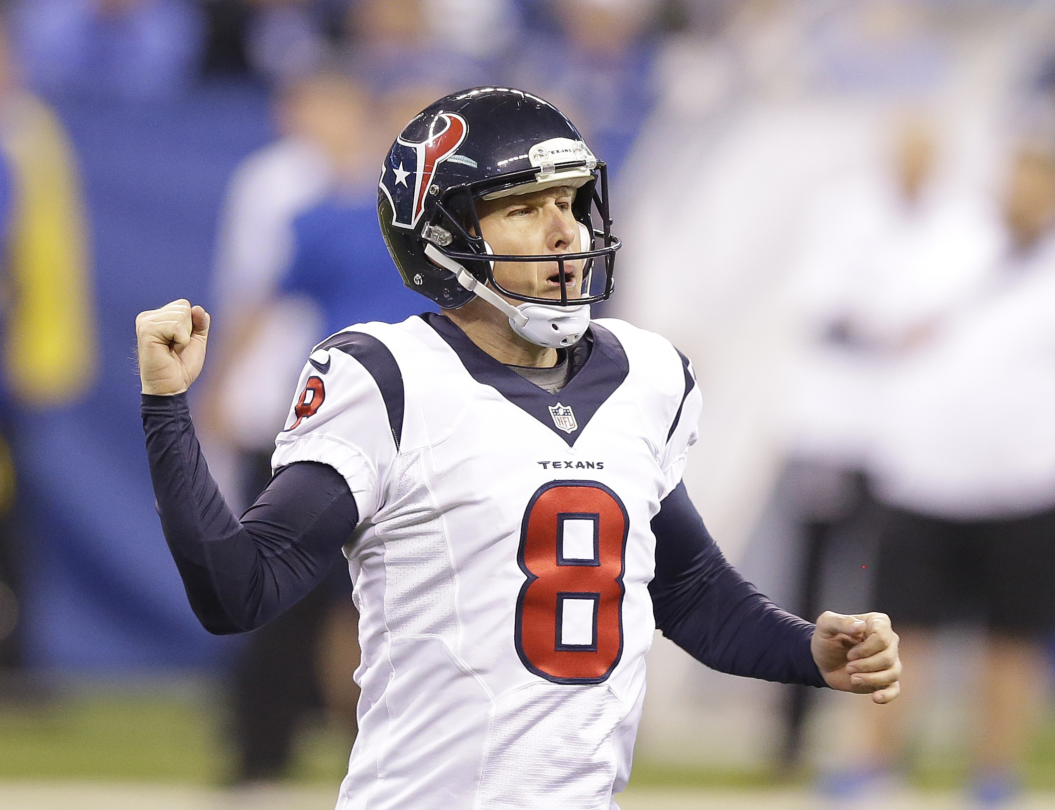 FILE - In this Dec. 20, 2015, file photo, Houston Texans' Nick Novak (8) celebrates after kicking a 46-yard field goal during the second half of an NFL football game against the Indianapolis Colts in Indianapolis. The Houston Texans know exactly what's on