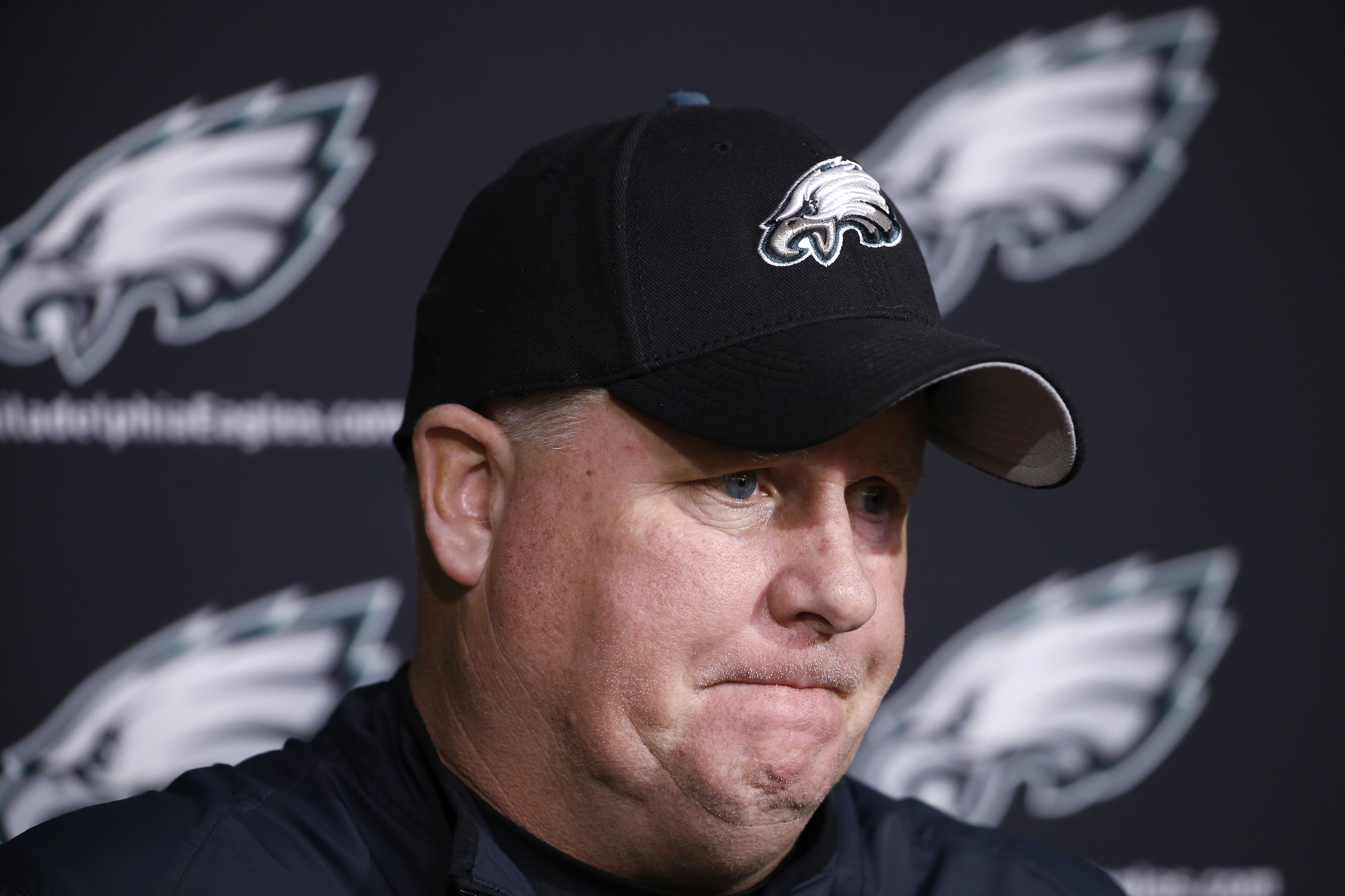 Philadelphia Eagles head coach Chip Kelly listens to a question during a news conference at the NFL football team's practice facility, Monday, Dec. 28, 2015, in Philadelphia. (AP Photo/Matt Rourke)