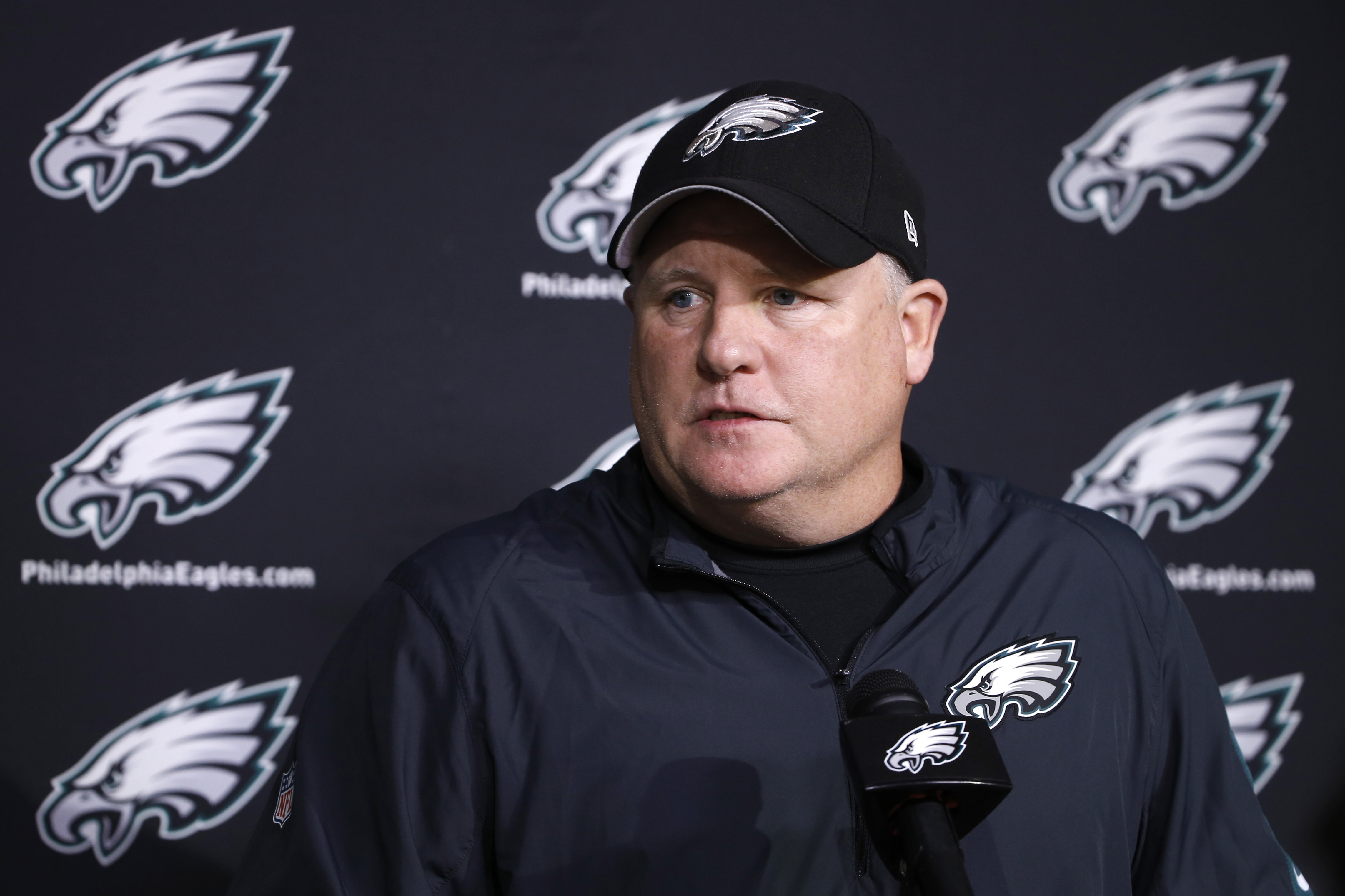 Philadelphia Eagles head coach Chip Kelly speaks with members of the media at the NFL football team's practice facility, Monday, Dec. 28, 2015, in Philadelphia. (AP Photo/Matt Rourke)