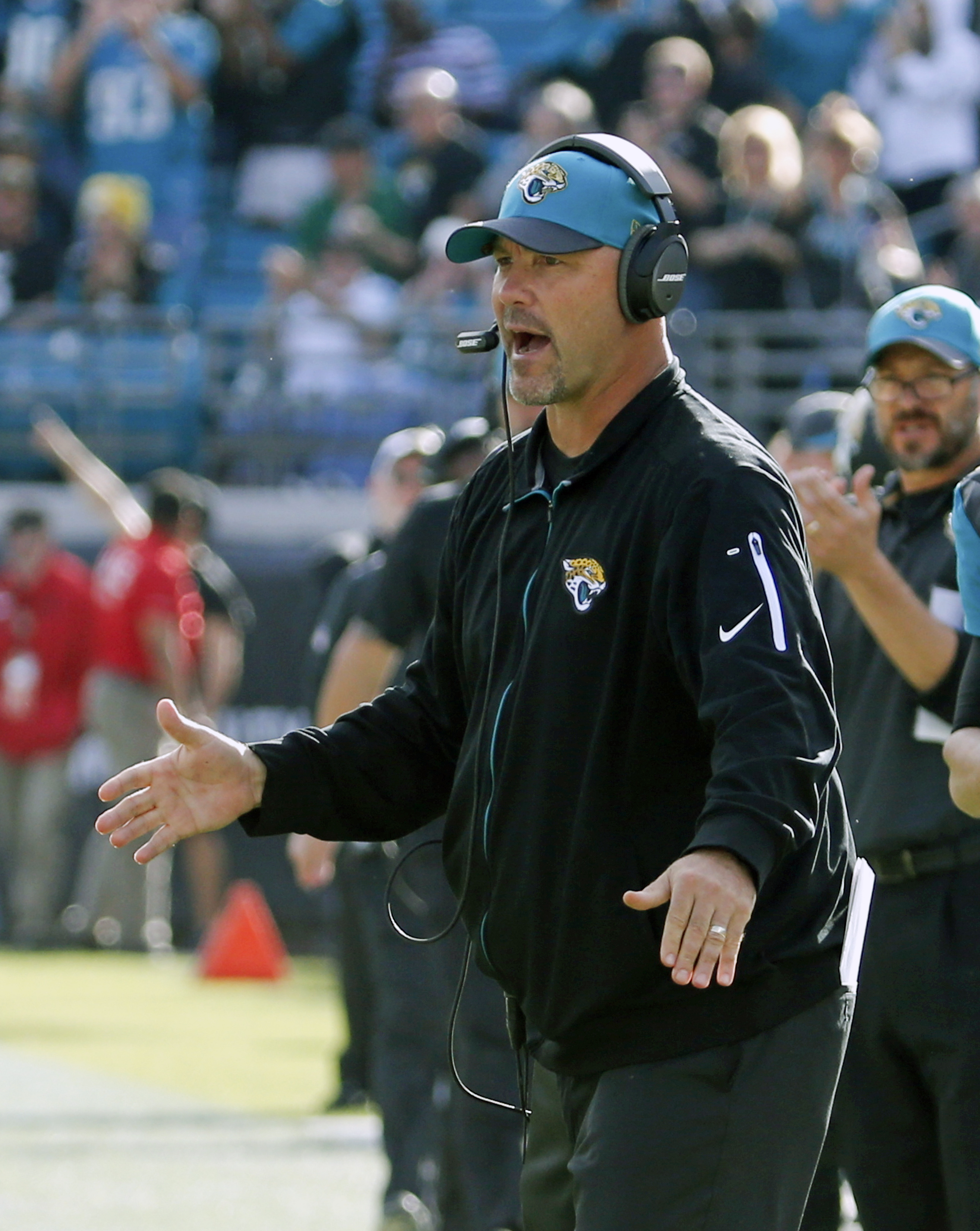 Jacksonville Jaguars head coach Gus Bradley encourages hi players during the second half of an NFL football game against the Atlanta Falcons in Jacksonville, Fla., Sunday, Dec. 20, 2015. The Jaguars allowed 537 yards in a 38-27 loss at New Orleans on Sund
