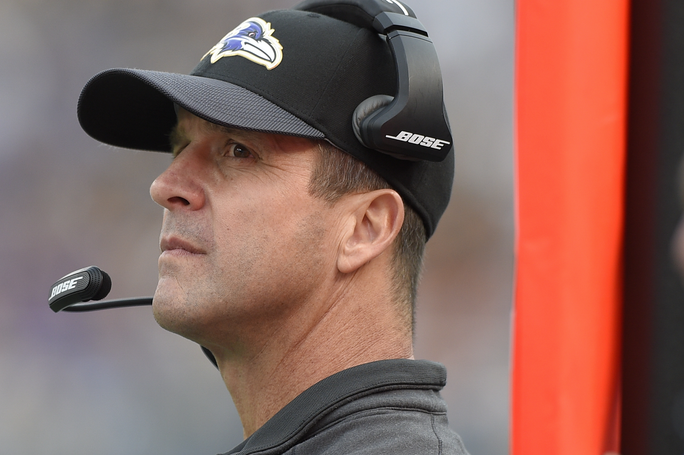 FILE - In this Dec. 27, 2015, file photo, Baltimore Ravens head coach John Harbaugh watches the action on the field during the second half of an NFL football game against the Pittsburgh Steelers in Baltimore. Coming off a spirited upset of the Steelers, t