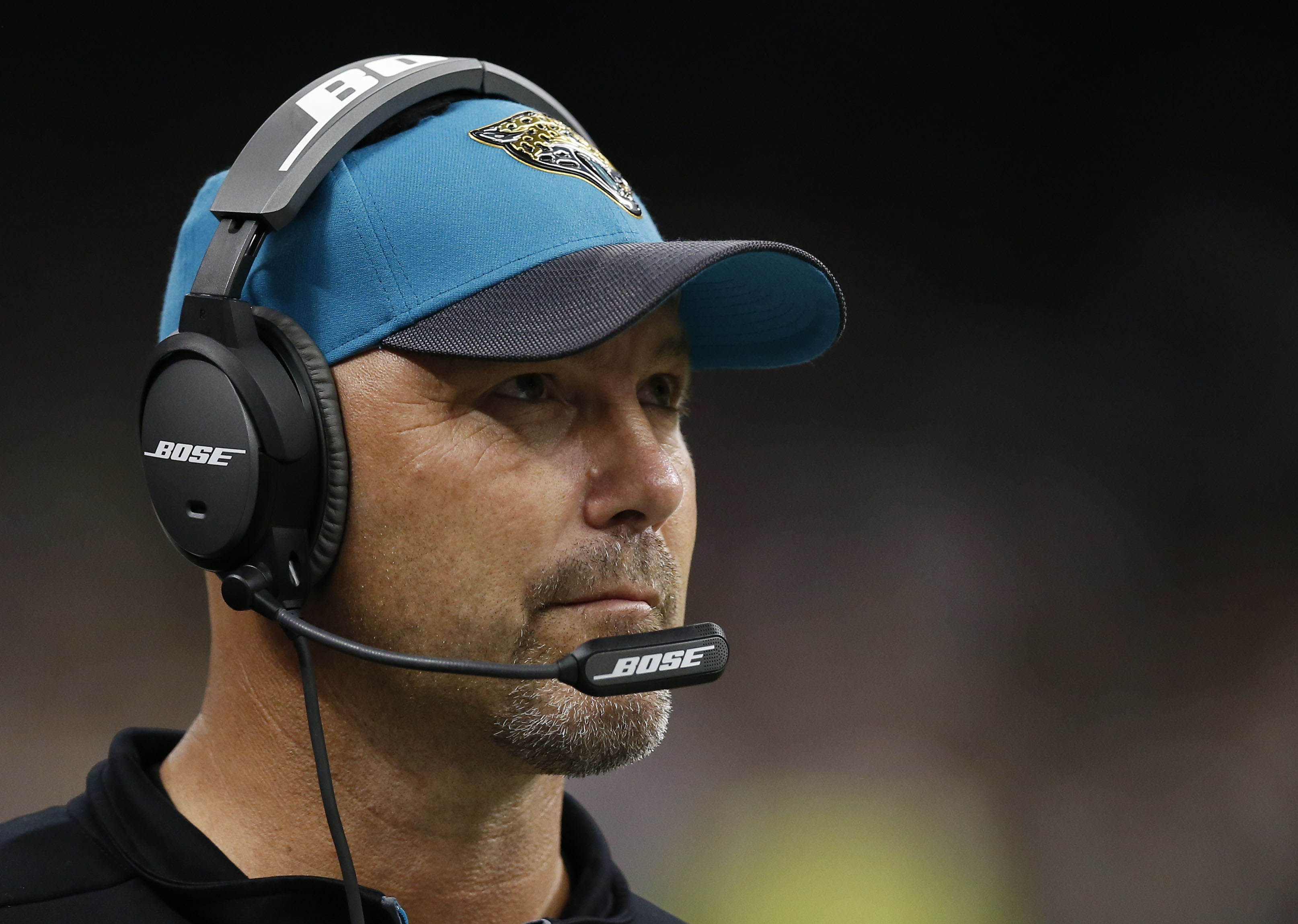 FILE - In this Sunday, Dec. 27, 2015 file photo, Jacksonville Jaguars head coach Gus Bradley works the sideline in the second half of an NFL football game against the New Orleans Saints in New Orleans. Jacksonville Jaguars coach Gus Bradley will return in